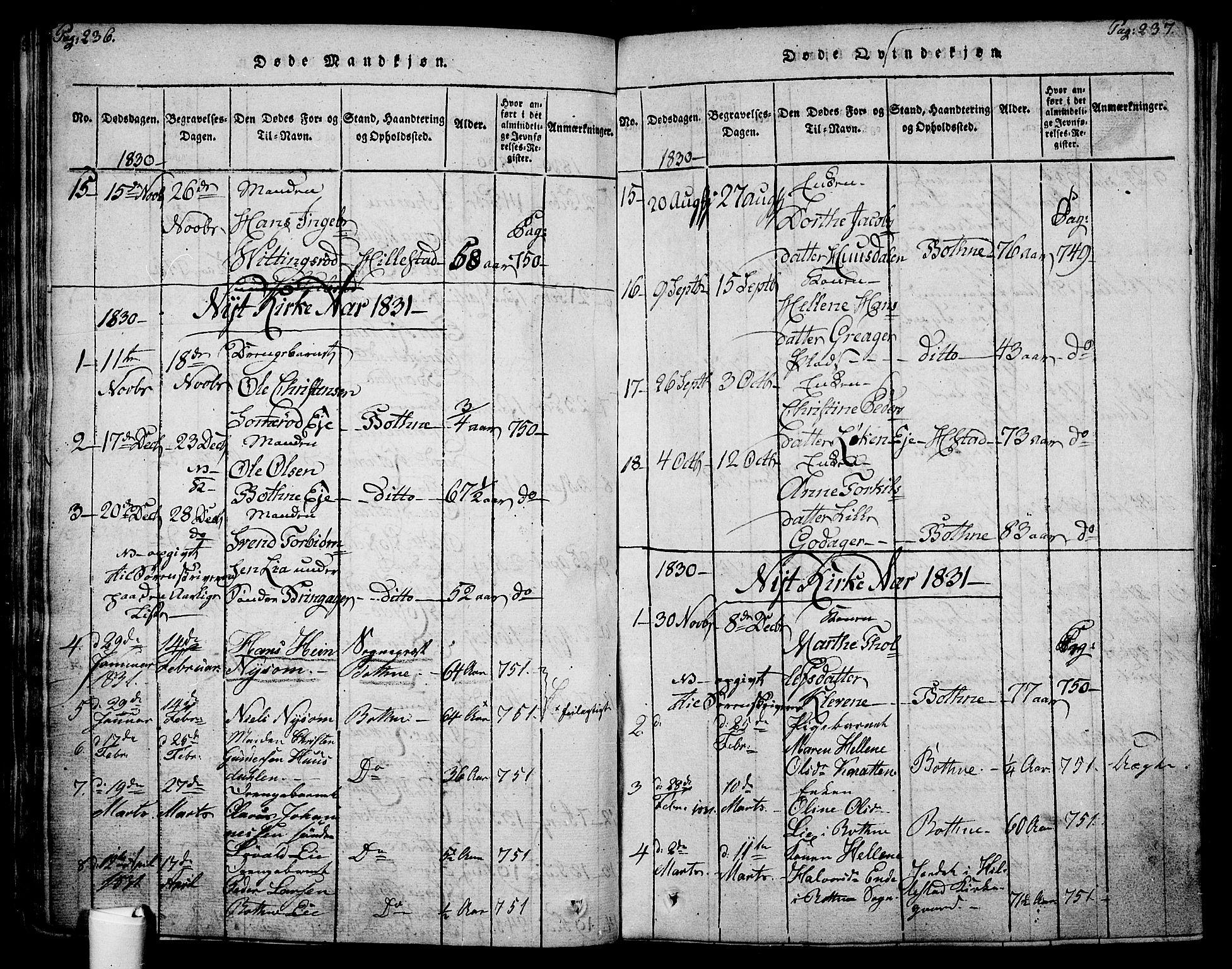 SAKO, Botne kirkebøker, F/Fa/L0005: Ministerialbok nr. I 5, 1814-1836, s. 236-237