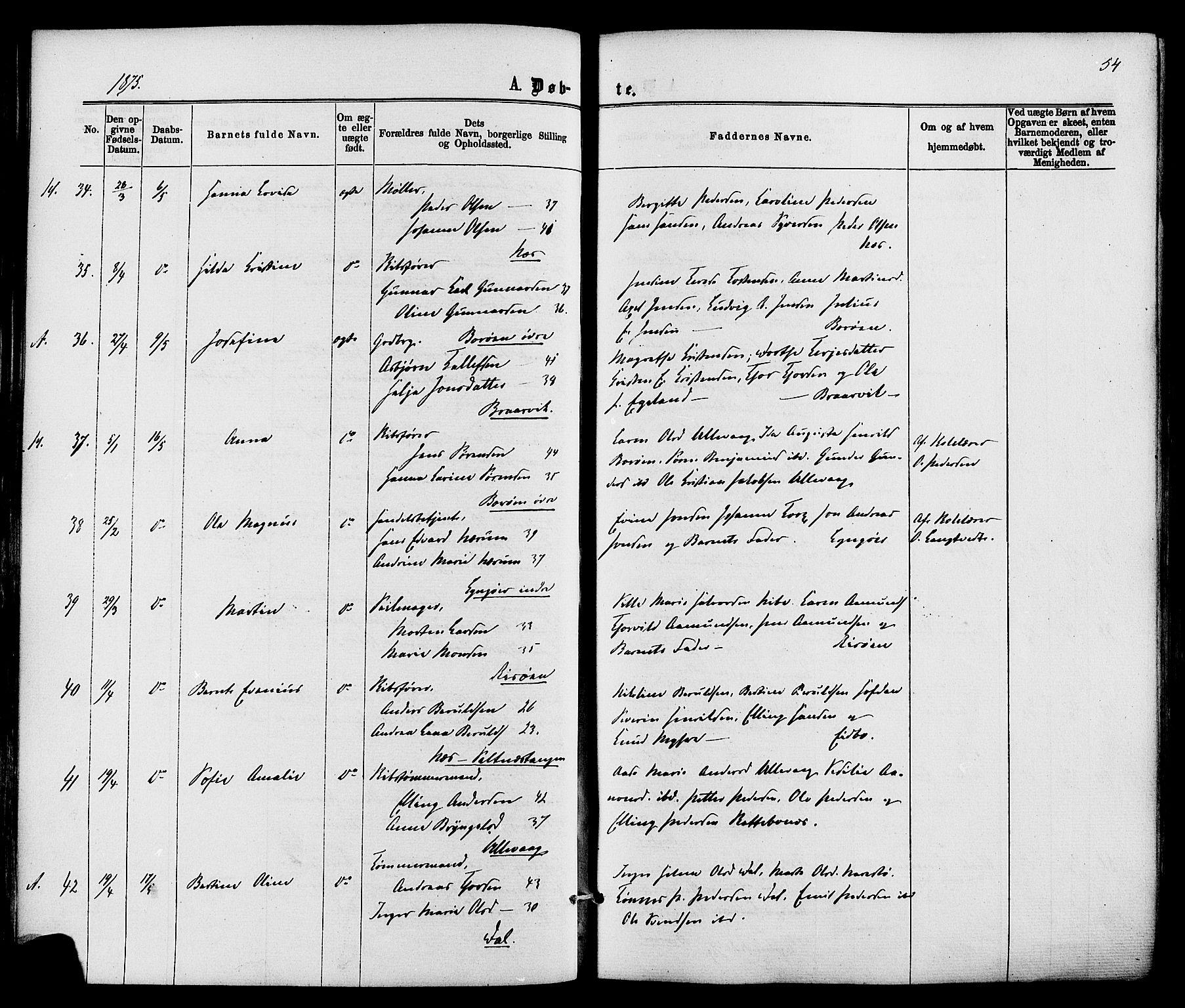 SAK, Dypvåg sokneprestkontor, F/Fa/Faa/L0007: Ministerialbok nr. A 7/ 1, 1872-1884, s. 54