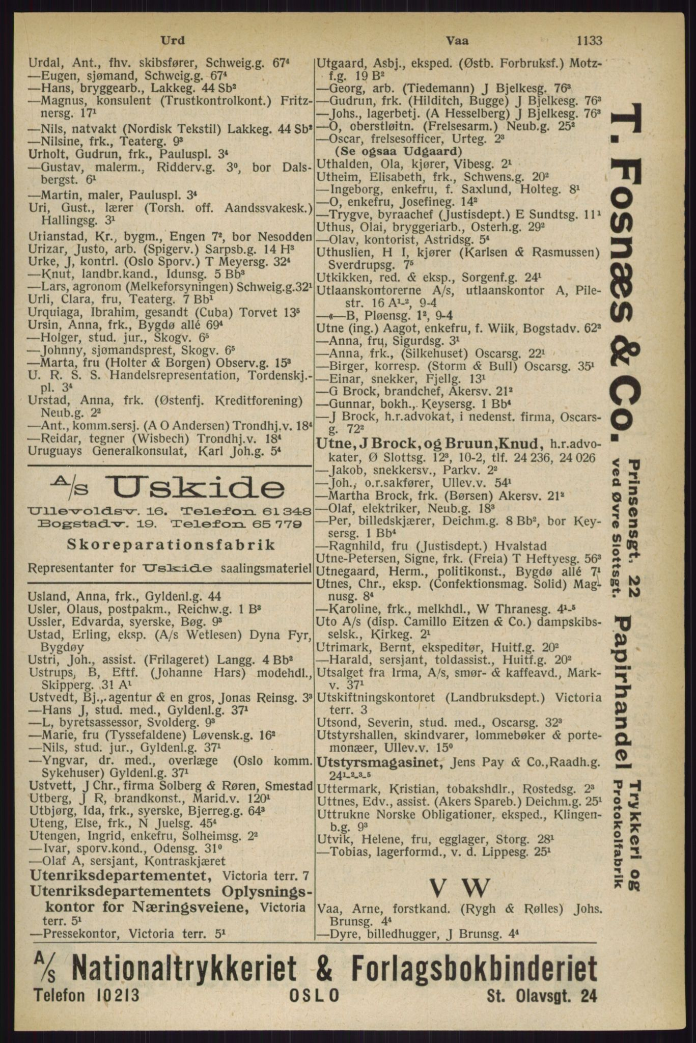 RA, Oslo adressebok (publikasjon)*, 1927, s. 1133