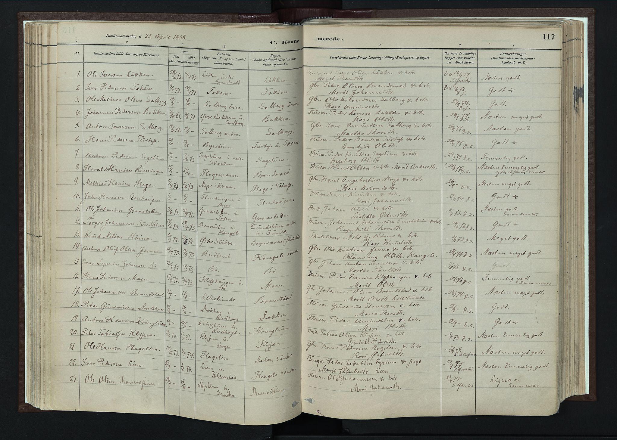 SAH, Nord-Fron prestekontor, Ministerialbok nr. 4, 1884-1914, s. 117