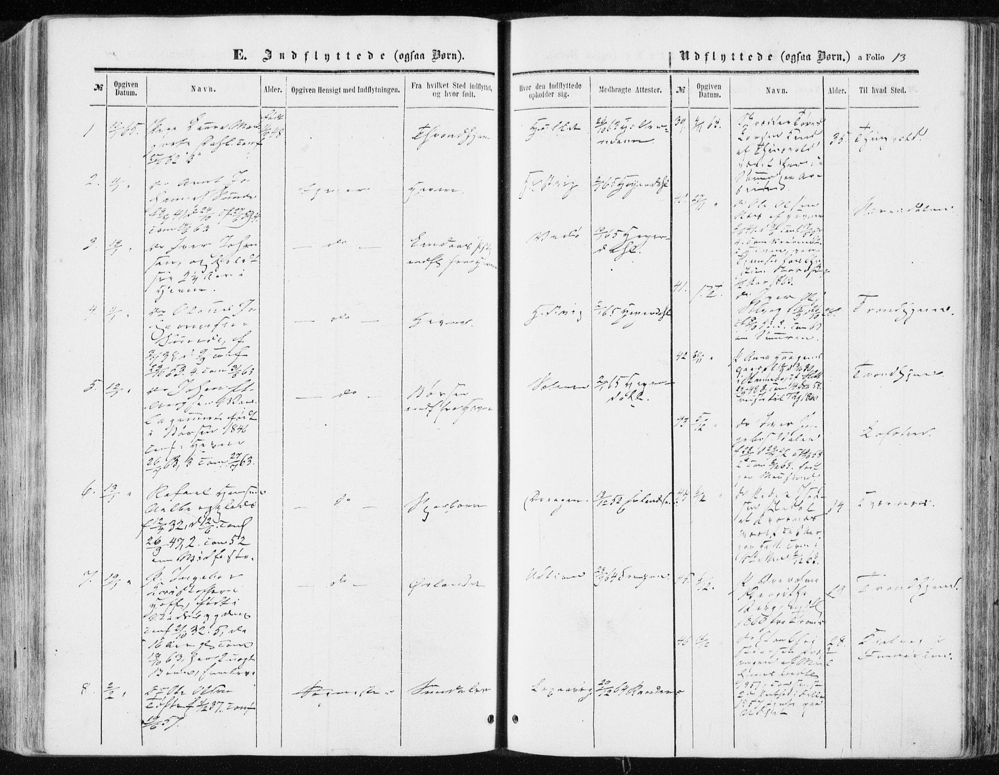 SAT, Ministerialprotokoller, klokkerbøker og fødselsregistre - Sør-Trøndelag, 634/L0531: Ministerialbok nr. 634A07, 1861-1870, s. 13