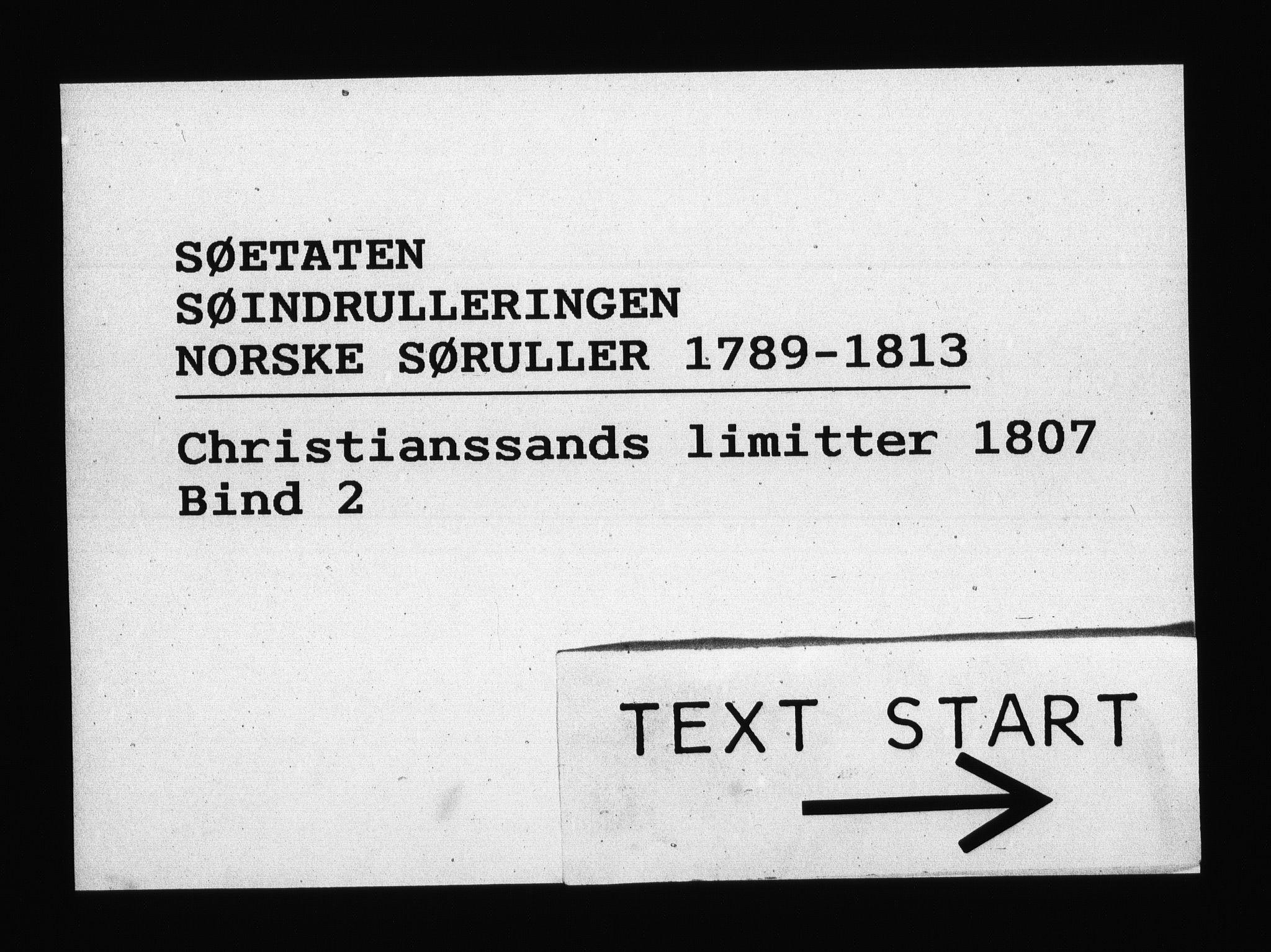 RA, Sjøetaten, F/L0100: Kristiansand limitter, bind 2, 1807