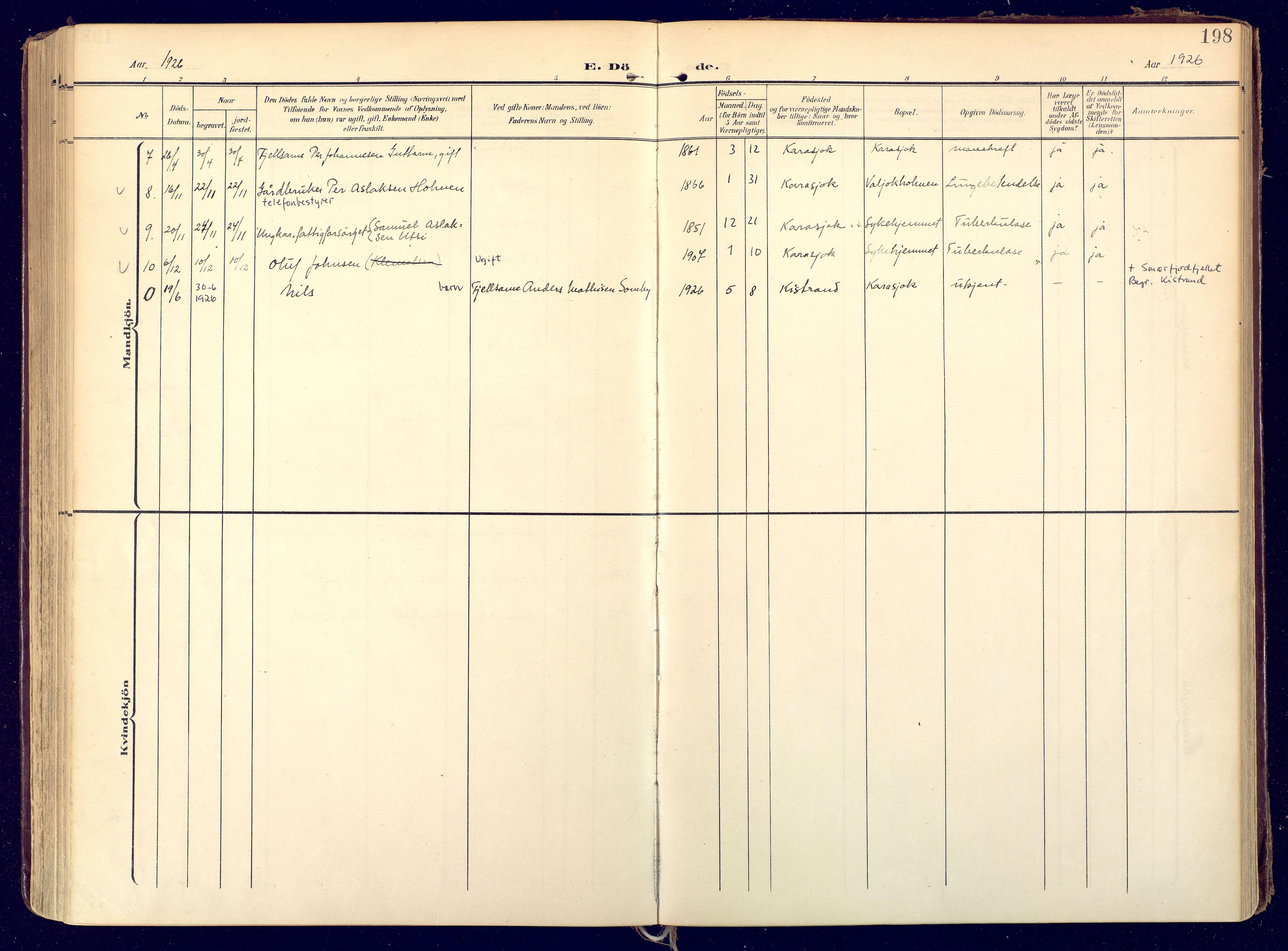 SATØ, Karasjok sokneprestkontor, H/Ha: Ministerialbok nr. 3, 1907-1926, s. 198