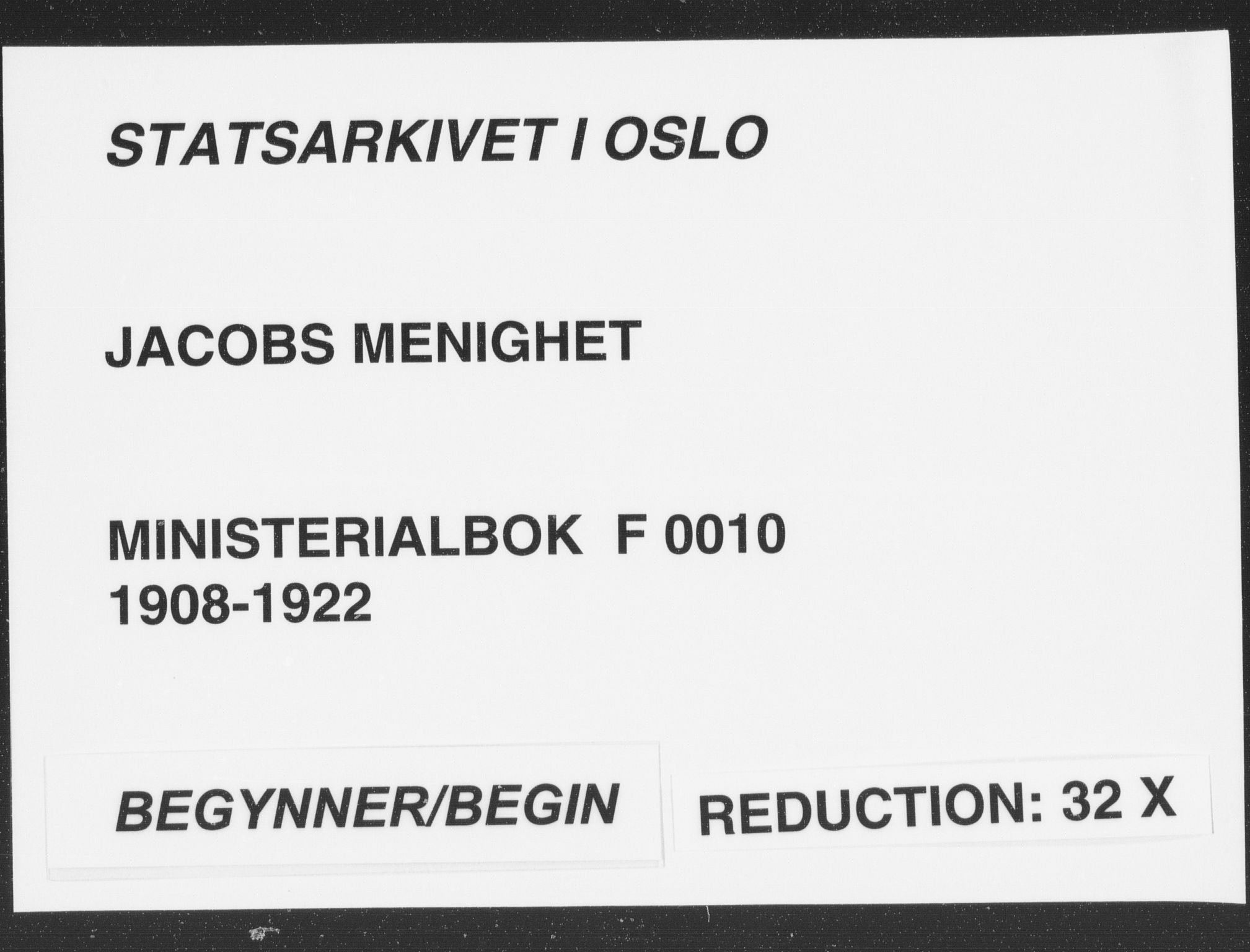 SAO, Jakob prestekontor Kirkebøker, F/Fa/L0010: Ministerialbok nr. 10, 1908-1922