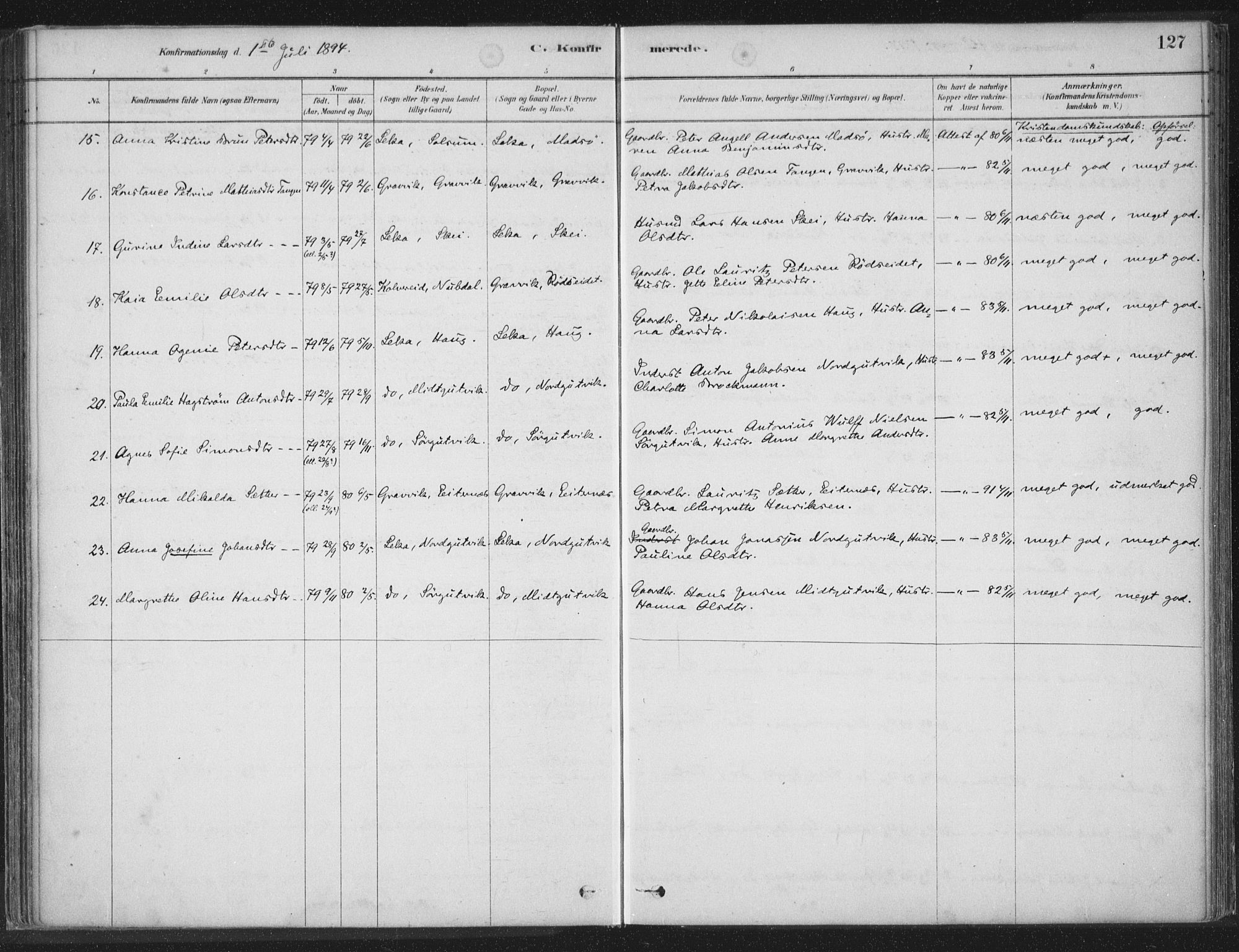 SAT, Ministerialprotokoller, klokkerbøker og fødselsregistre - Nord-Trøndelag, 788/L0697: Ministerialbok nr. 788A04, 1878-1902, s. 127