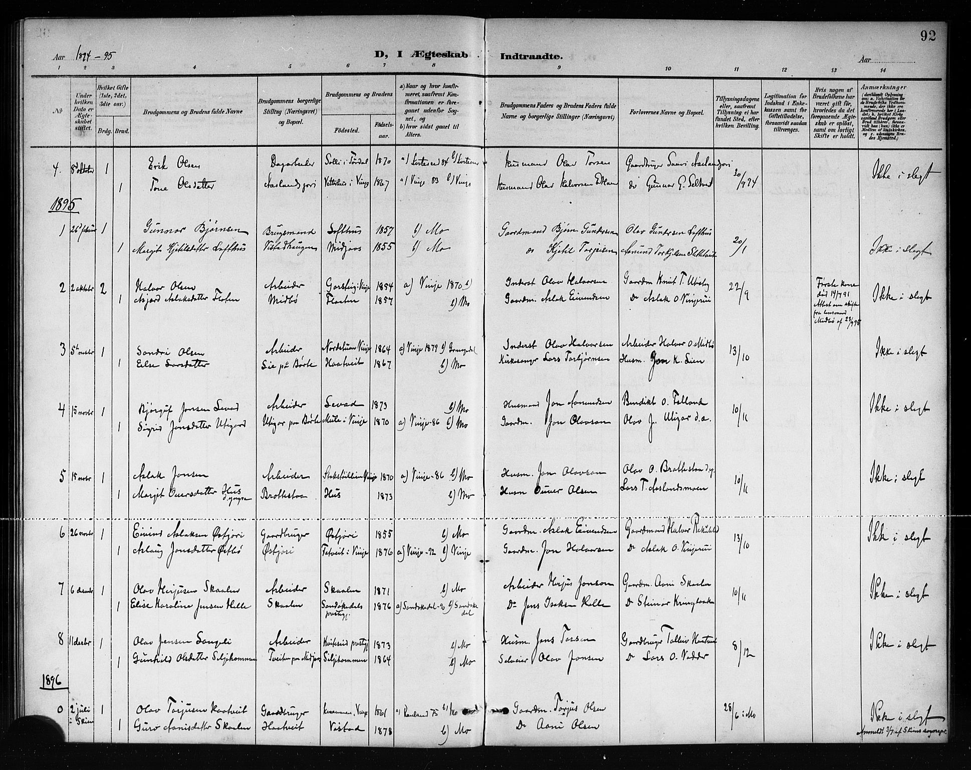 SAKO, Mo kirkebøker, G/Ga/L0002: Klokkerbok nr. I 2, 1892-1914, s. 92