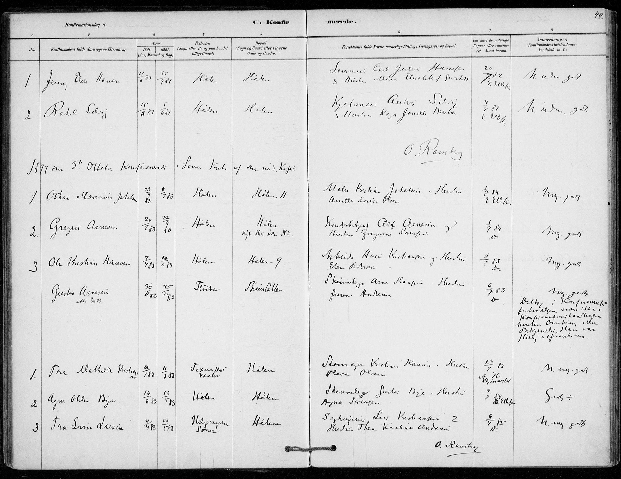 SAO, Vestby prestekontor Kirkebøker, F/Fe/L0001: Ministerialbok nr. V 1, 1878-1931, s. 49