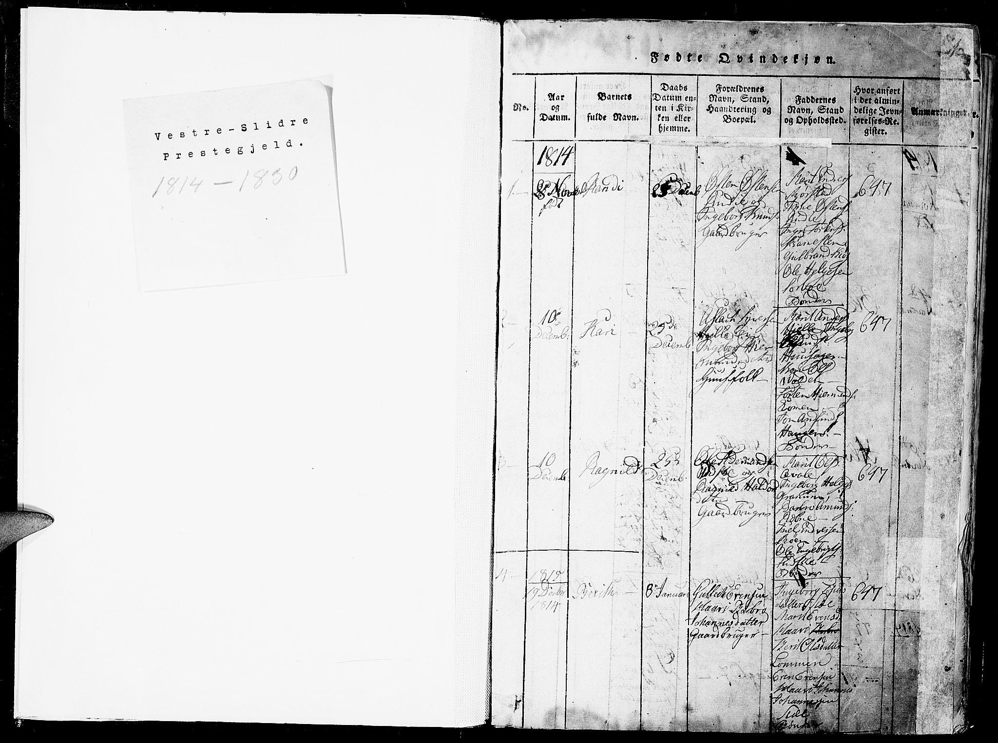 SAH, Slidre prestekontor, Ministerialbok nr. 2, 1814-1830, s. 0-1