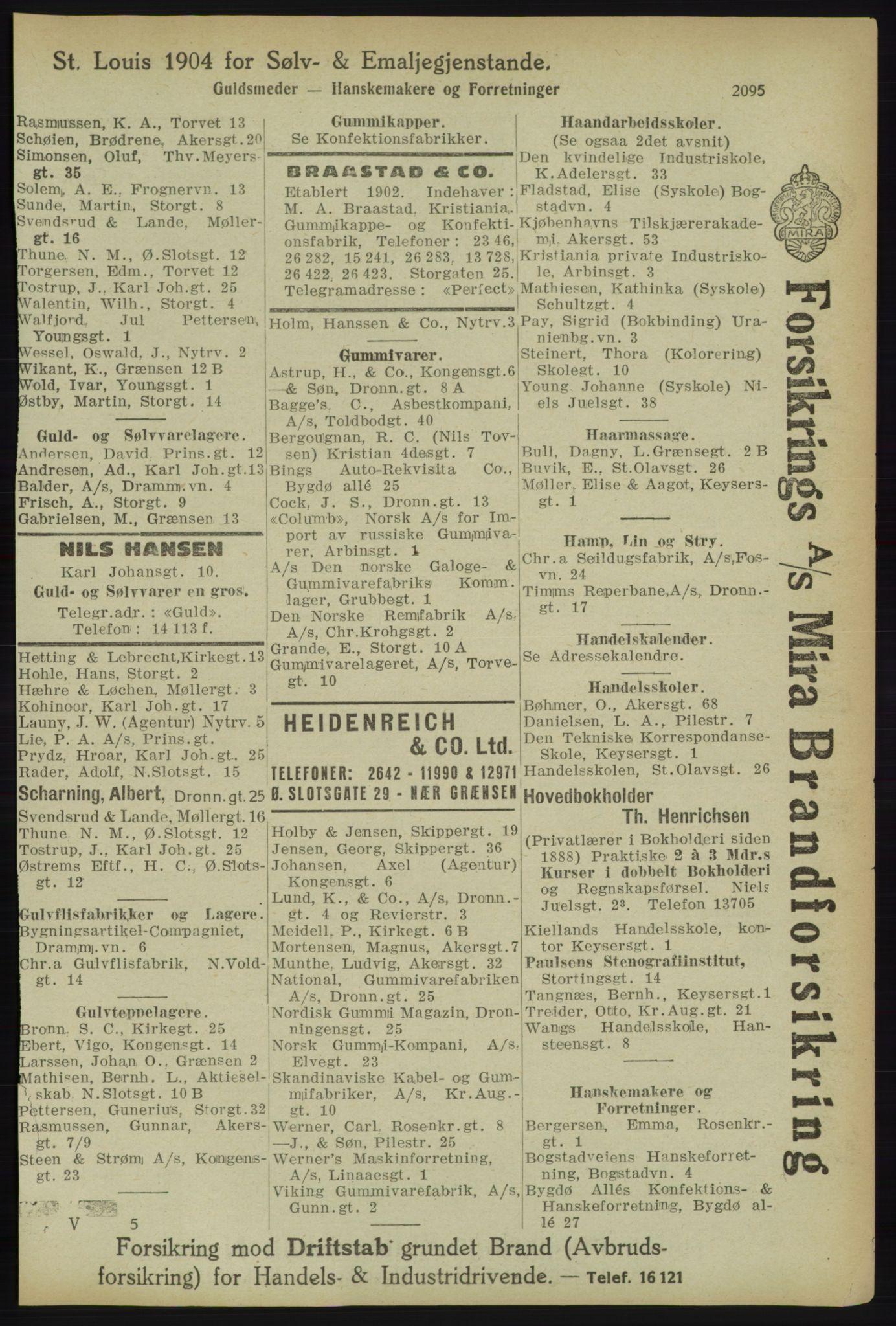RA, Kristiania adressebok (publikasjon)*, 1918, s. 2095