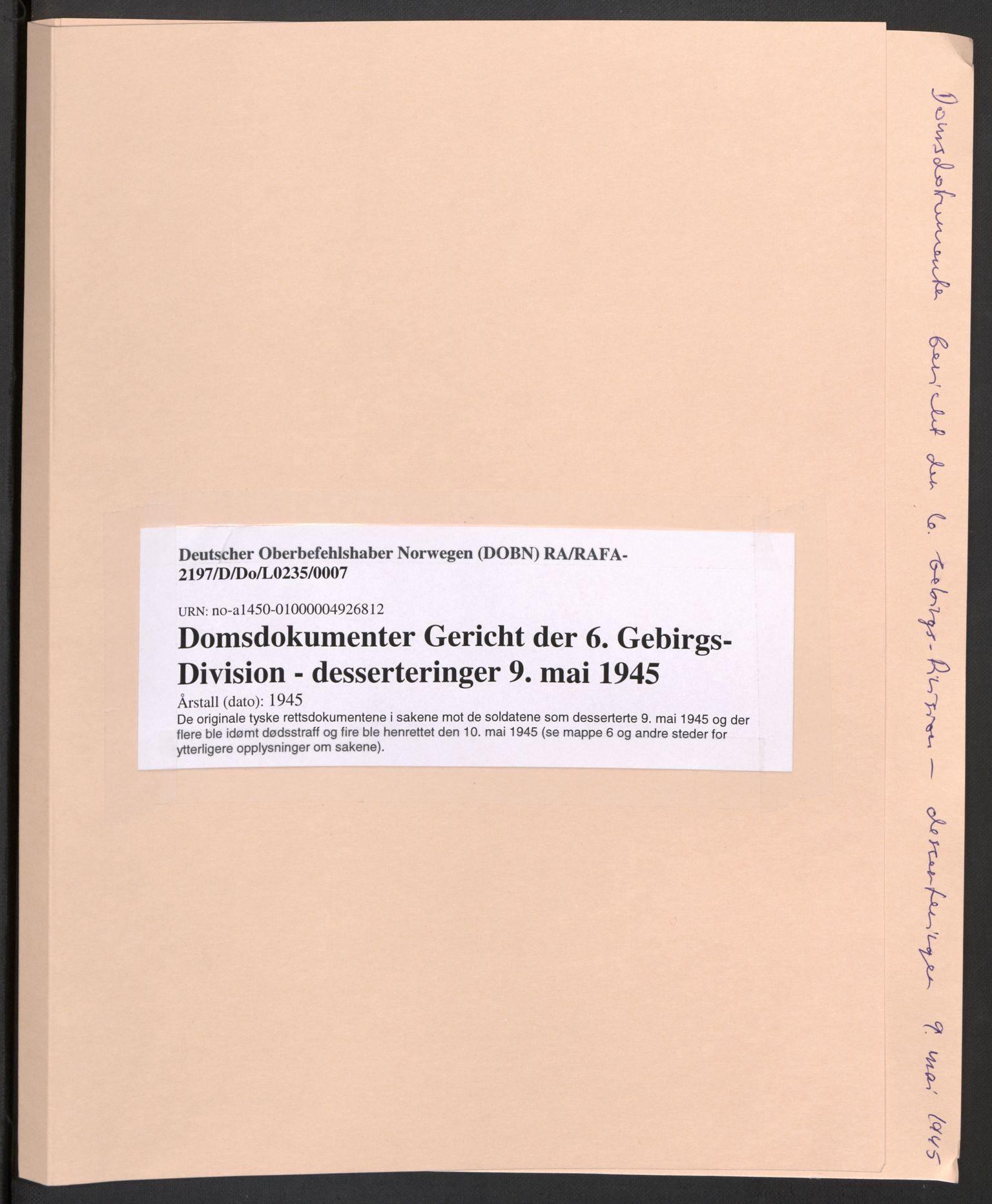 RA, Deutscher Oberbefehlshaber Norwegen (DOBN), D/Do/L0235: DBT Abt. III, 1945