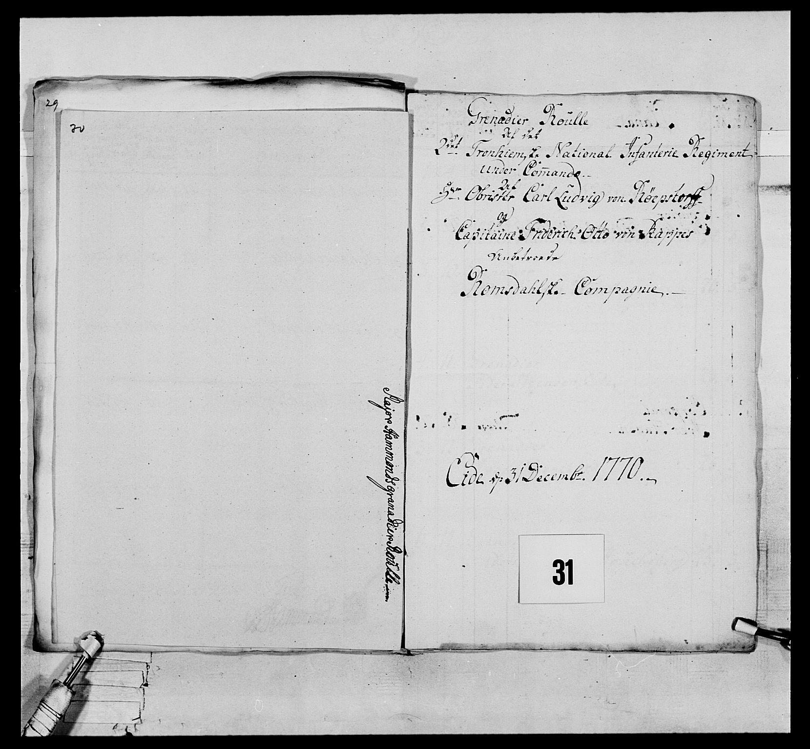 RA, Generalitets- og kommissariatskollegiet, Det kongelige norske kommissariatskollegium, E/Eh/L0076: 2. Trondheimske nasjonale infanteriregiment, 1766-1773, s. 88