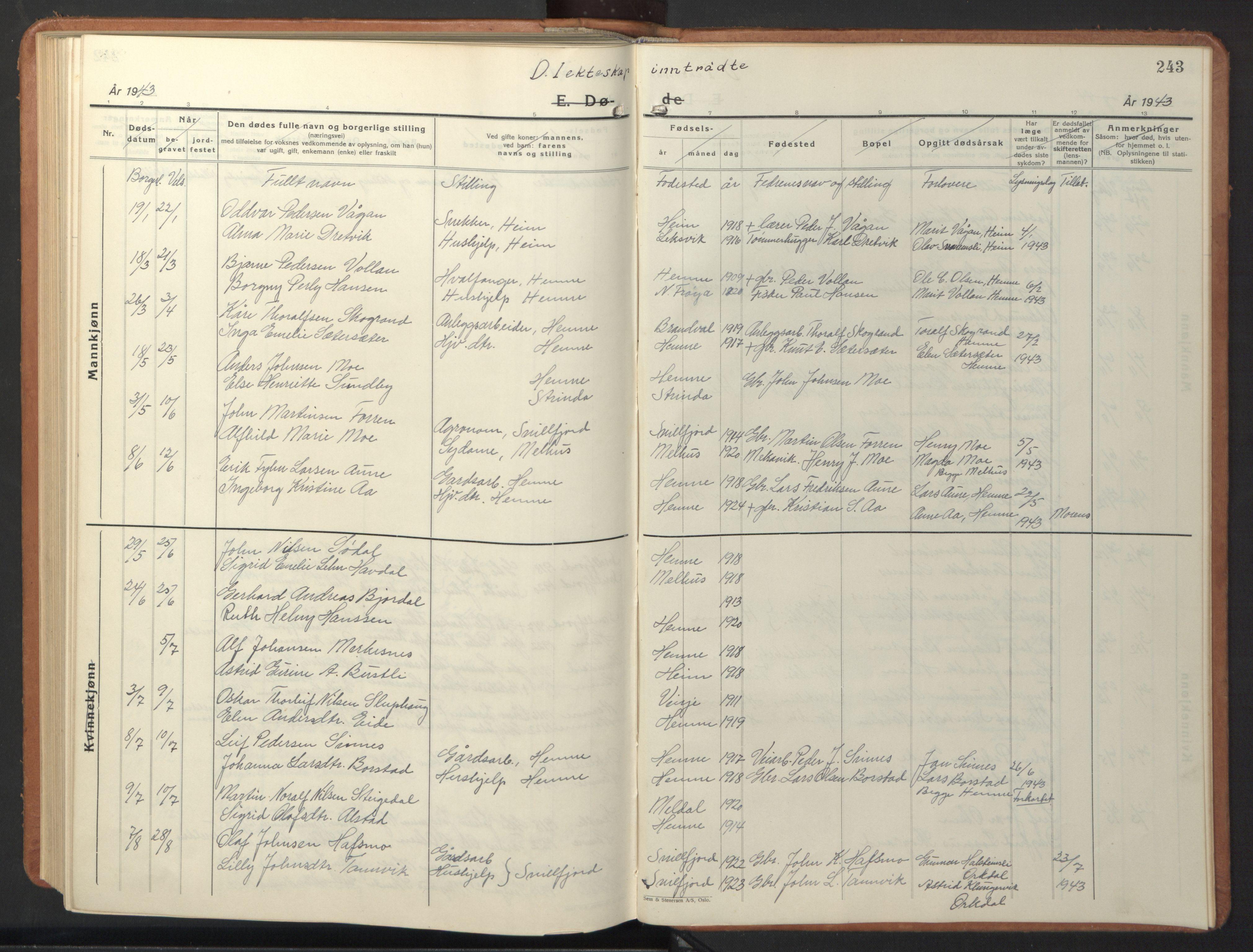 SAT, Ministerialprotokoller, klokkerbøker og fødselsregistre - Sør-Trøndelag, 630/L0508: Klokkerbok nr. 630C06, 1933-1950, s. 243