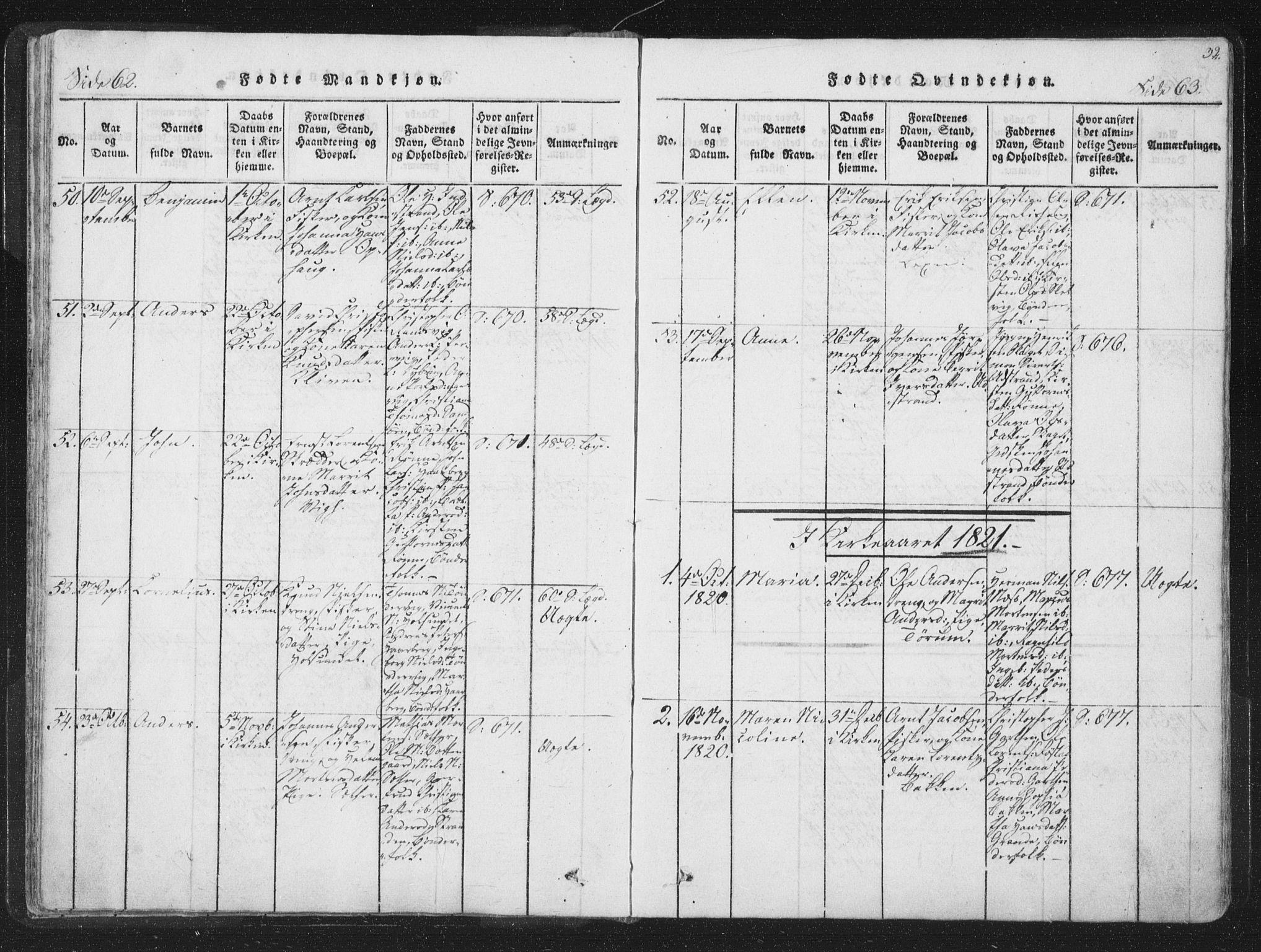 SAT, Ministerialprotokoller, klokkerbøker og fødselsregistre - Sør-Trøndelag, 659/L0734: Ministerialbok nr. 659A04, 1818-1825, s. 62-63