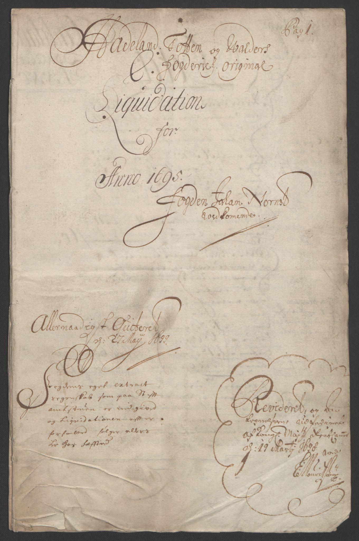 RA, Rentekammeret inntil 1814, Reviderte regnskaper, Fogderegnskap, R18/L1293: Fogderegnskap Hadeland, Toten og Valdres, 1695, s. 3