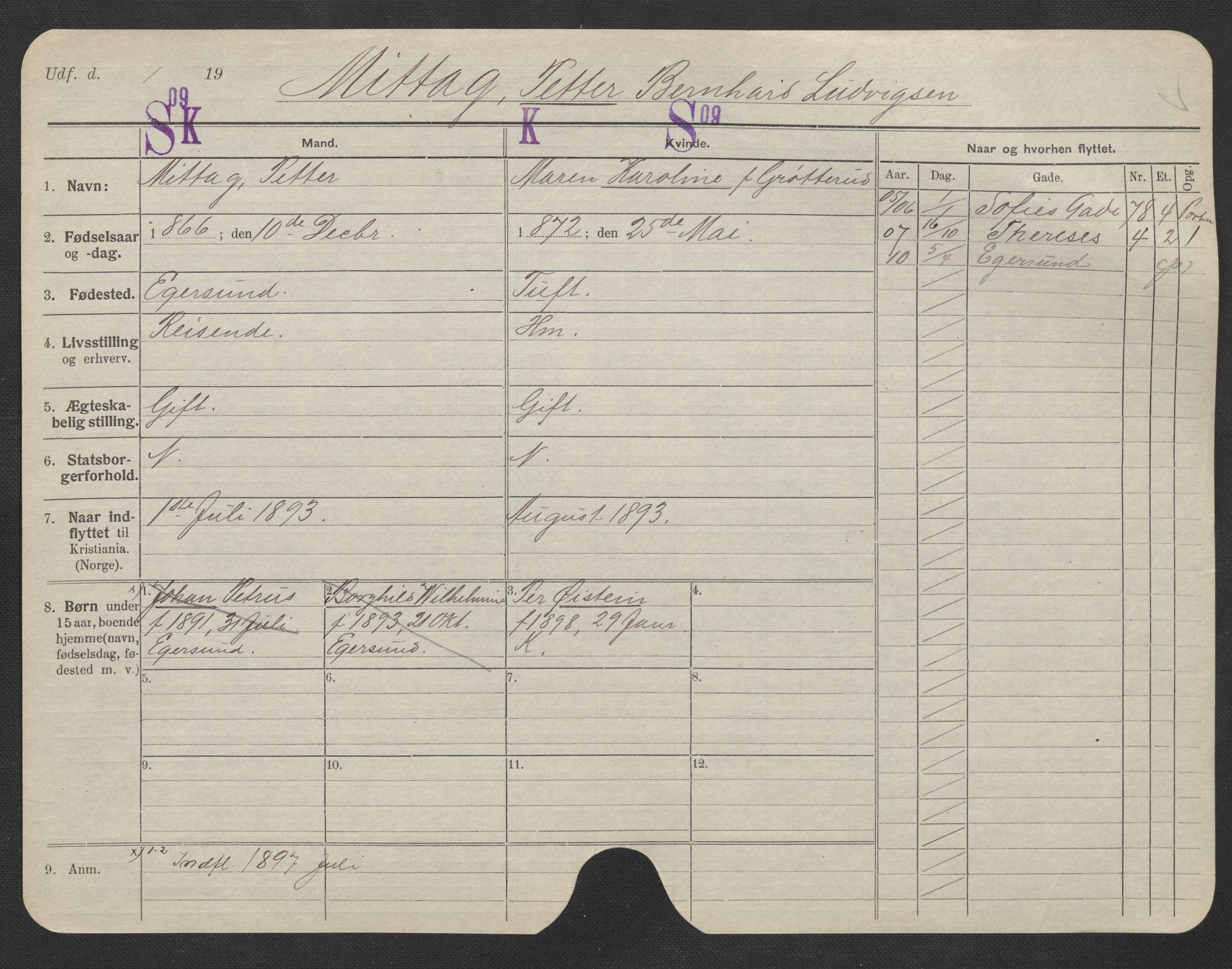 SAO, Oslo folkeregister, Registerkort, F/Fa/Fac/L0007: Menn, 1906-1914, s. 776a