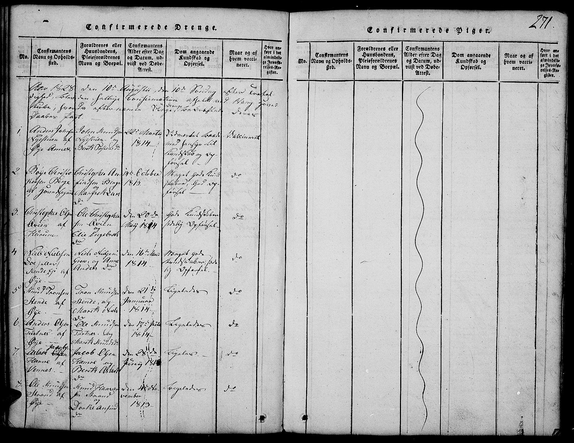SAH, Vang prestekontor, Valdres, Klokkerbok nr. 2, 1814-1889, s. 271