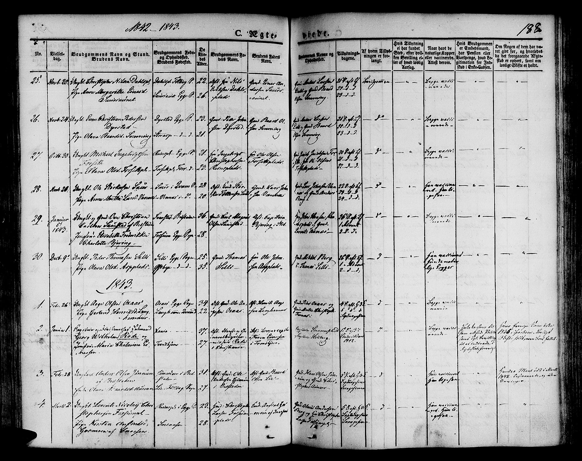 SAT, Ministerialprotokoller, klokkerbøker og fødselsregistre - Nord-Trøndelag, 746/L0445: Ministerialbok nr. 746A04, 1826-1846, s. 188