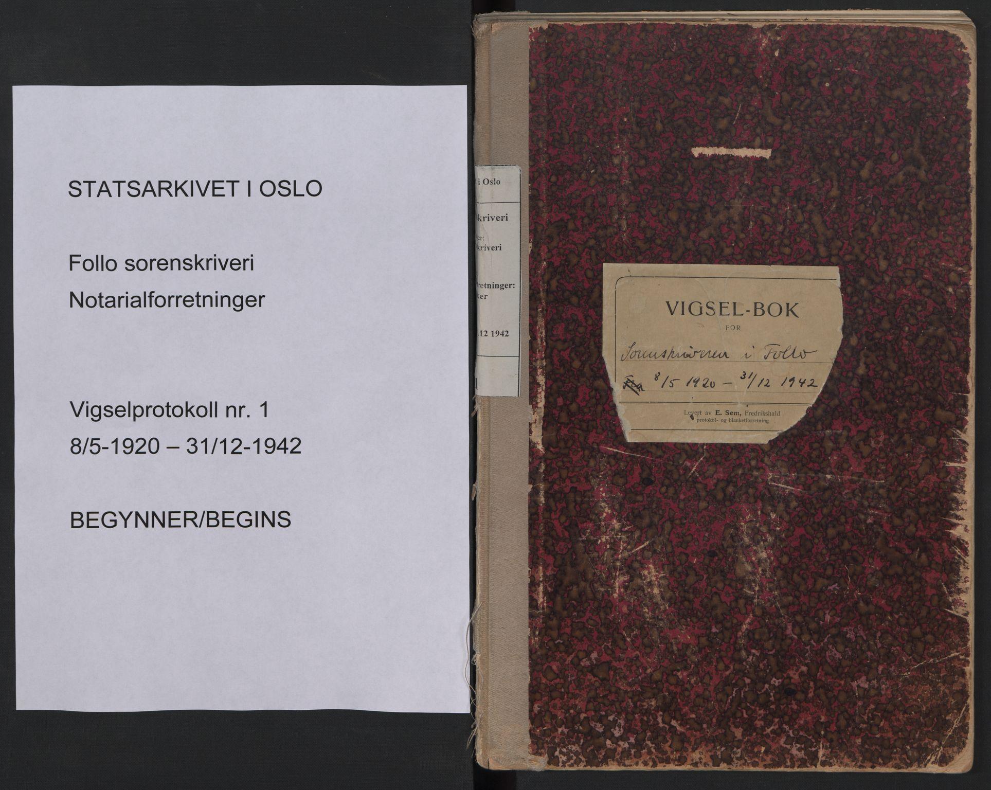 SAO, Follo sorenskriveri, L/La/Lab/L0001: Vigselsbok, 1920-1942, s. upaginert