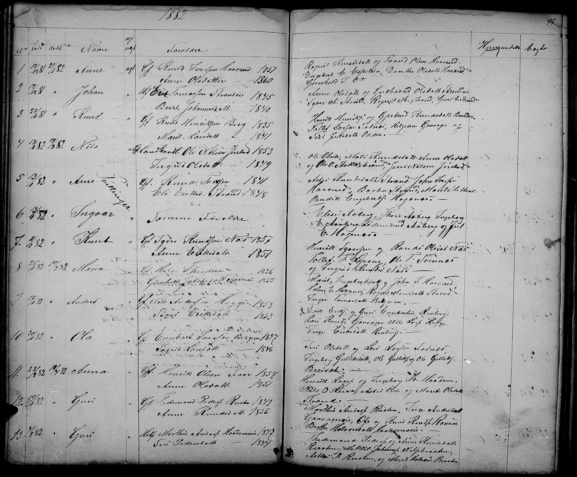SAH, Nord-Aurdal prestekontor, Klokkerbok nr. 3, 1842-1882, s. 95