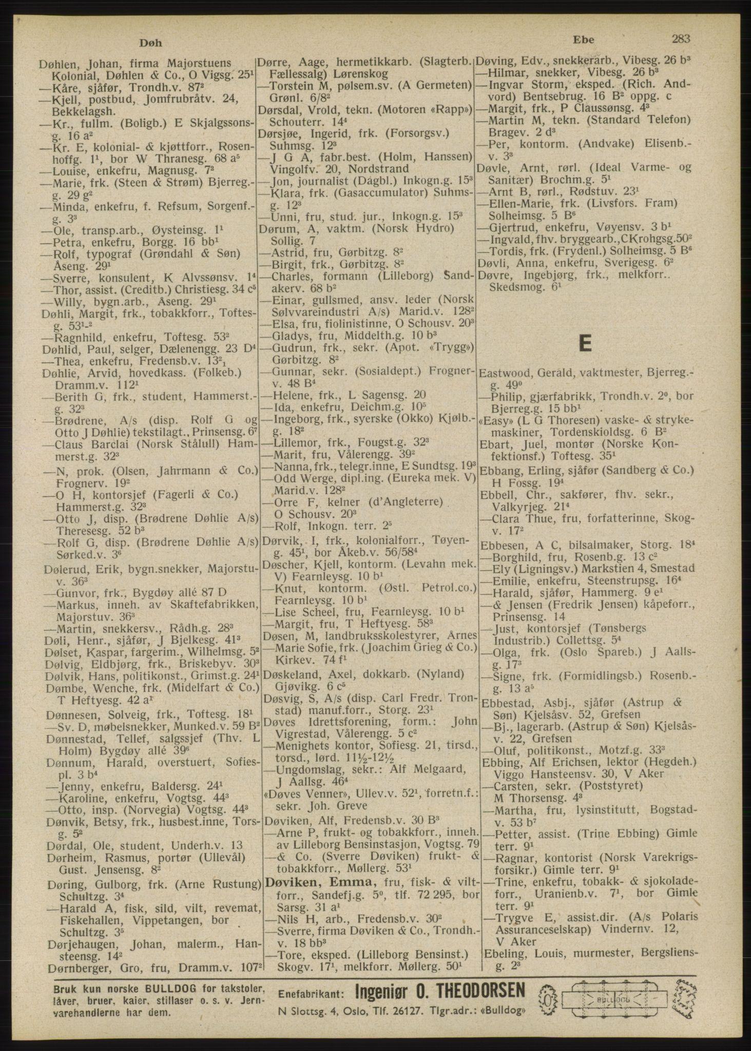 RA, Oslo adressebok (publikasjon)*, 1946, s. 283