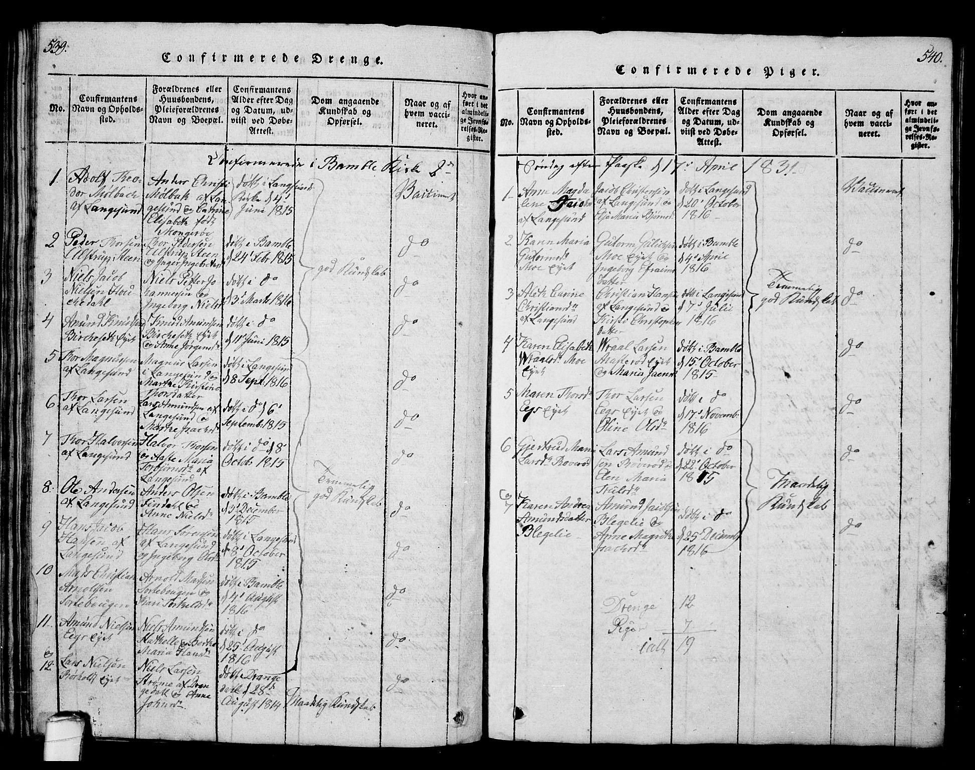 SAKO, Bamble kirkebøker, G/Ga/L0005: Klokkerbok nr. I 5, 1814-1855, s. 539-540