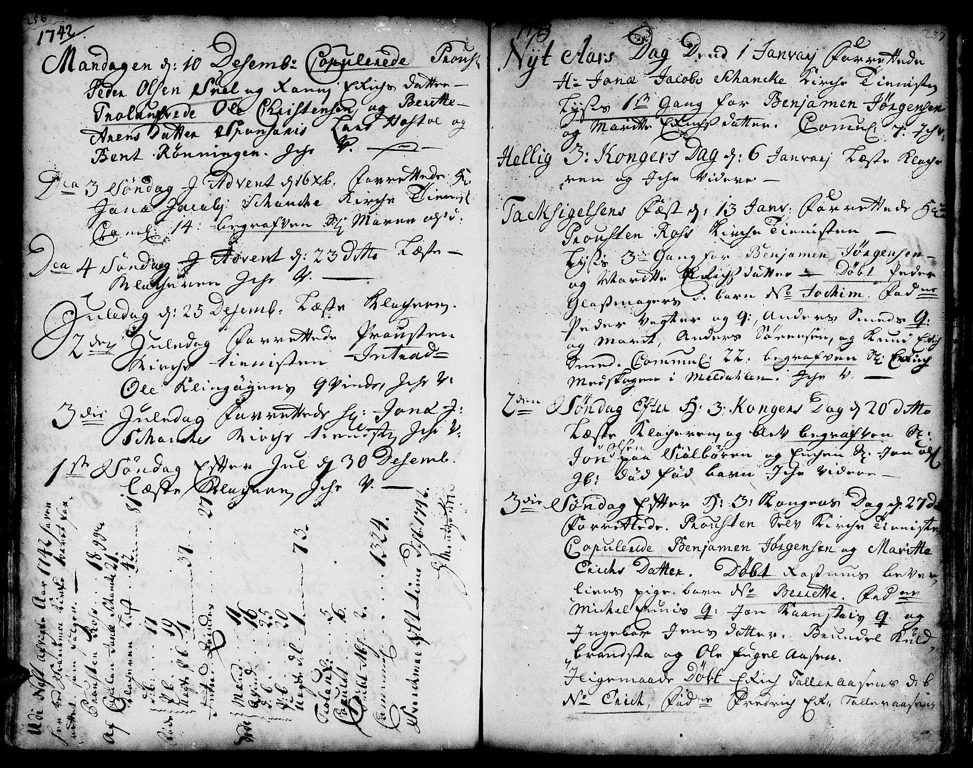 SAT, Ministerialprotokoller, klokkerbøker og fødselsregistre - Sør-Trøndelag, 671/L0839: Ministerialbok nr. 671A01, 1730-1755, s. 256-257