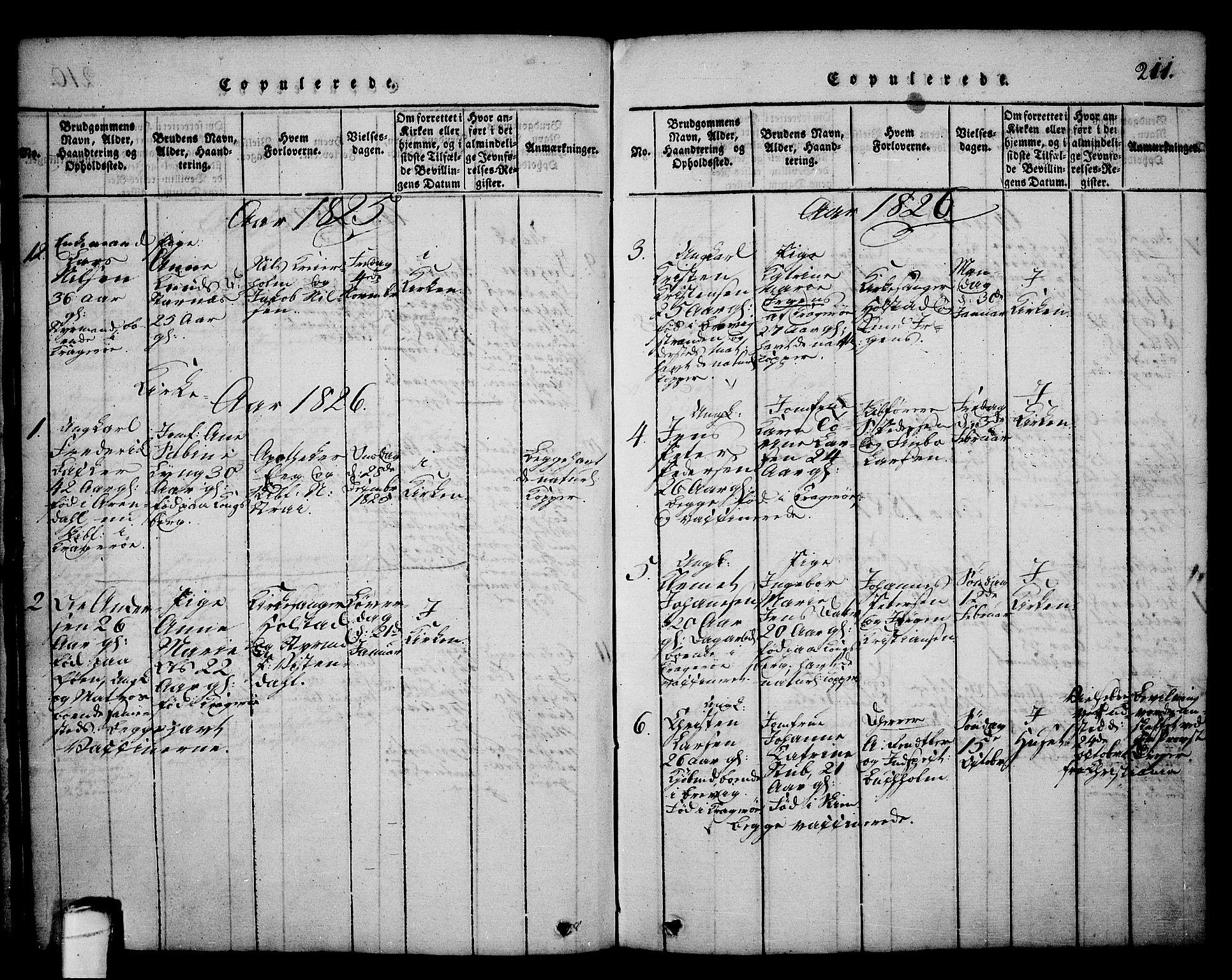 SAKO, Kragerø kirkebøker, G/Ga/L0002: Klokkerbok nr. 2, 1814-1831, s. 211
