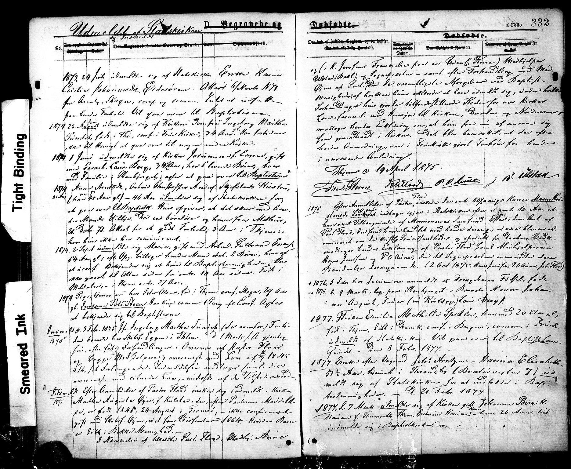 SAT, Ministerialprotokoller, klokkerbøker og fødselsregistre - Sør-Trøndelag, 602/L0118: Ministerialbok nr. 602A16, 1873-1879, s. 332