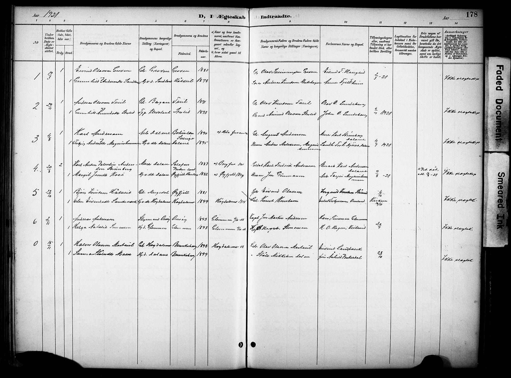 SAKO, Kviteseid kirkebøker, G/Gb/L0003: Klokkerbok nr. II 3, 1893-1933, s. 178