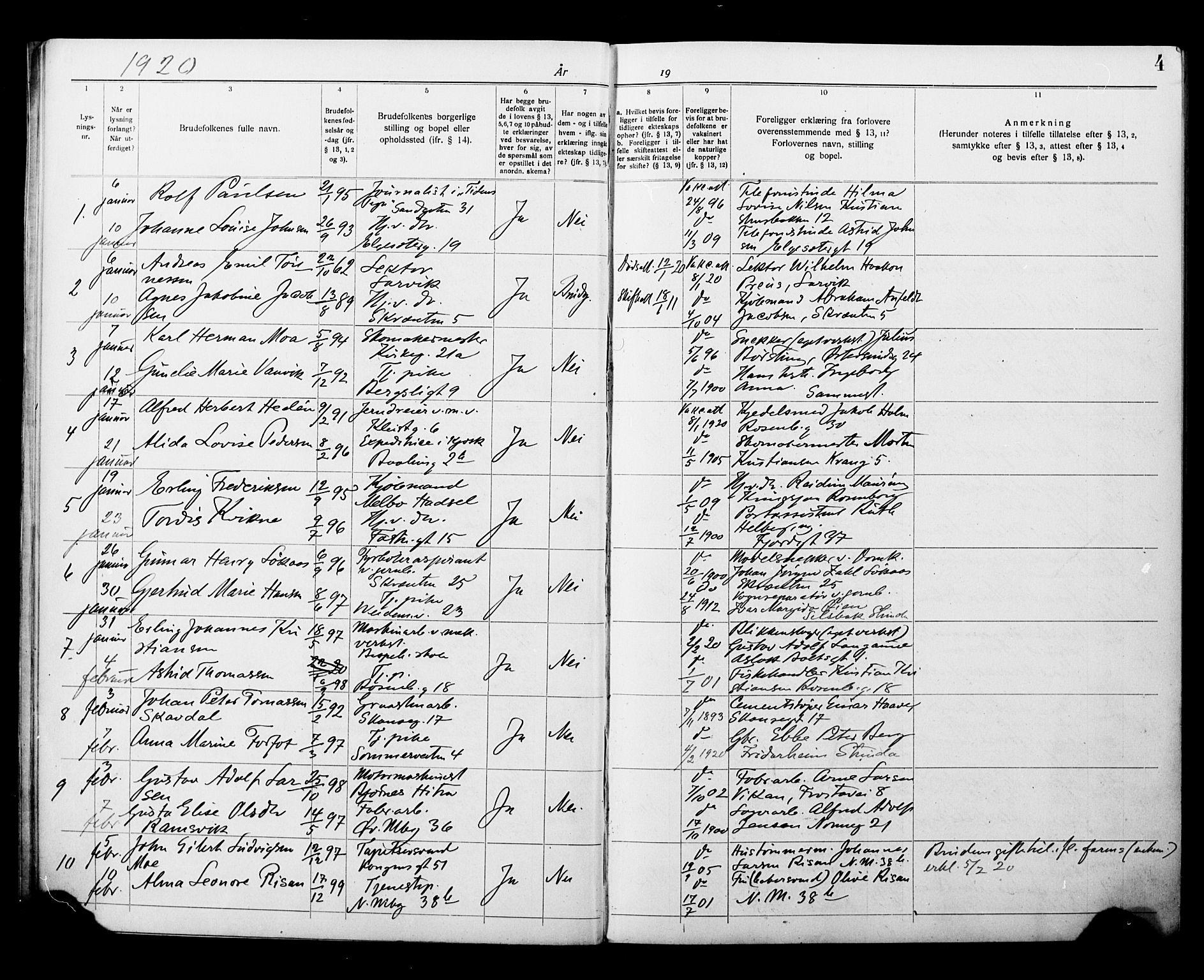 SAT, Ministerialprotokoller, klokkerbøker og fødselsregistre - Sør-Trøndelag, 604/L0196: Lysningsprotokoll nr. 604A17, 1919-1927, s. 4
