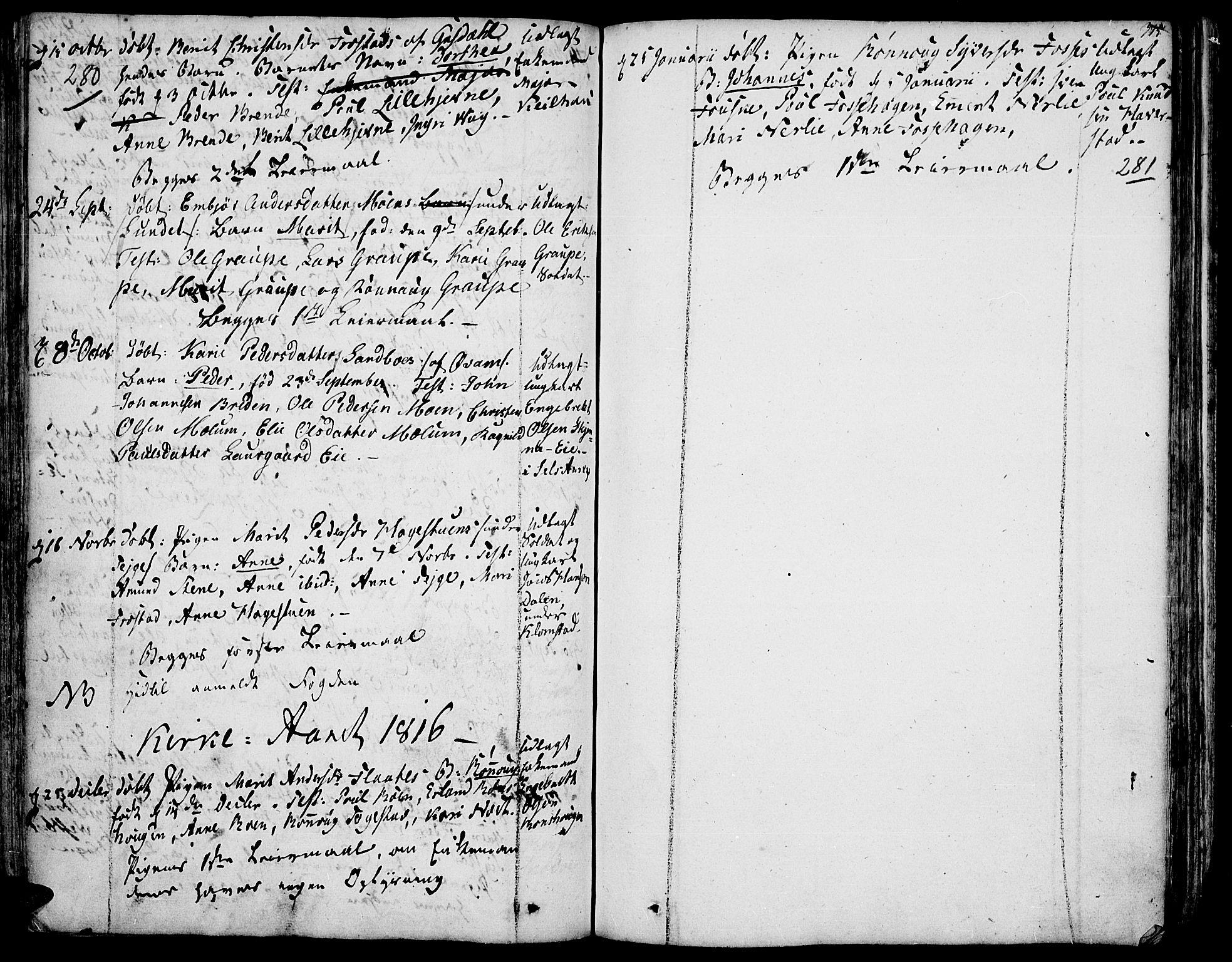 SAH, Fron prestekontor, H/Ha/Haa/L0001: Ministerialbok nr. 1, 1799-1816, s. 280-281