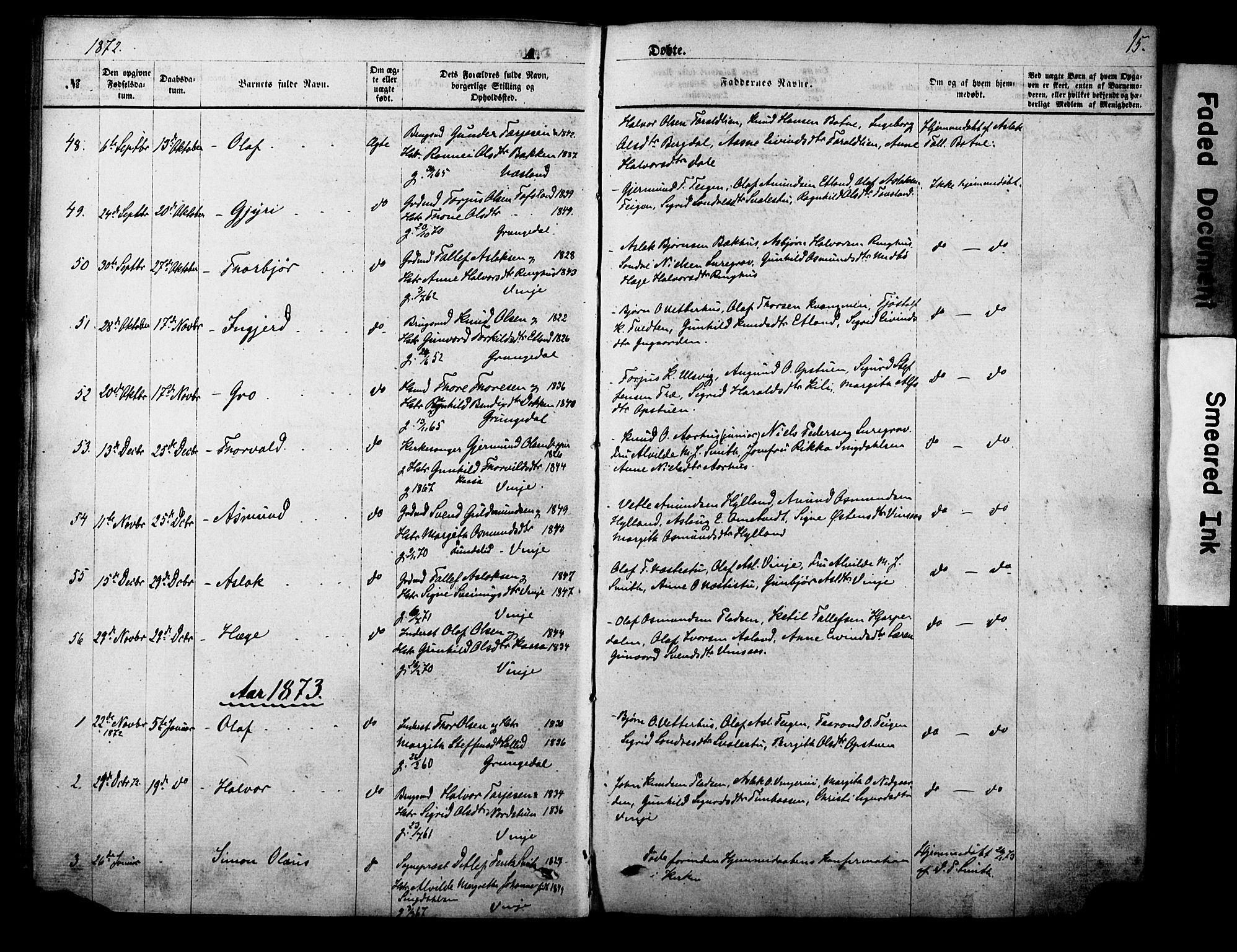 SAKO, Vinje kirkebøker, F/Fa/L0005: Ministerialbok nr. I 5, 1870-1886, s. 15
