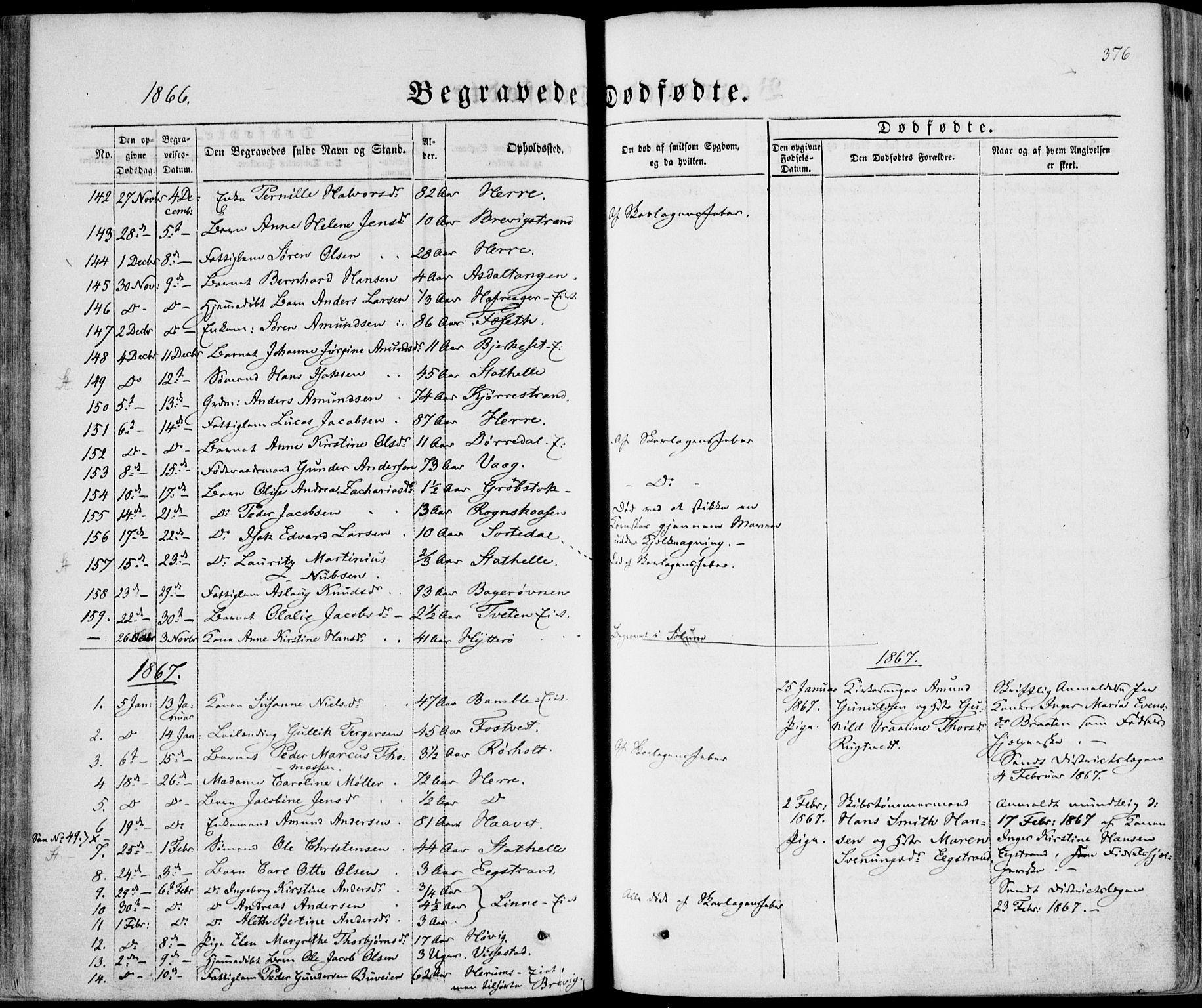 SAKO, Bamble kirkebøker, F/Fa/L0005: Ministerialbok nr. I 5, 1854-1869, s. 376