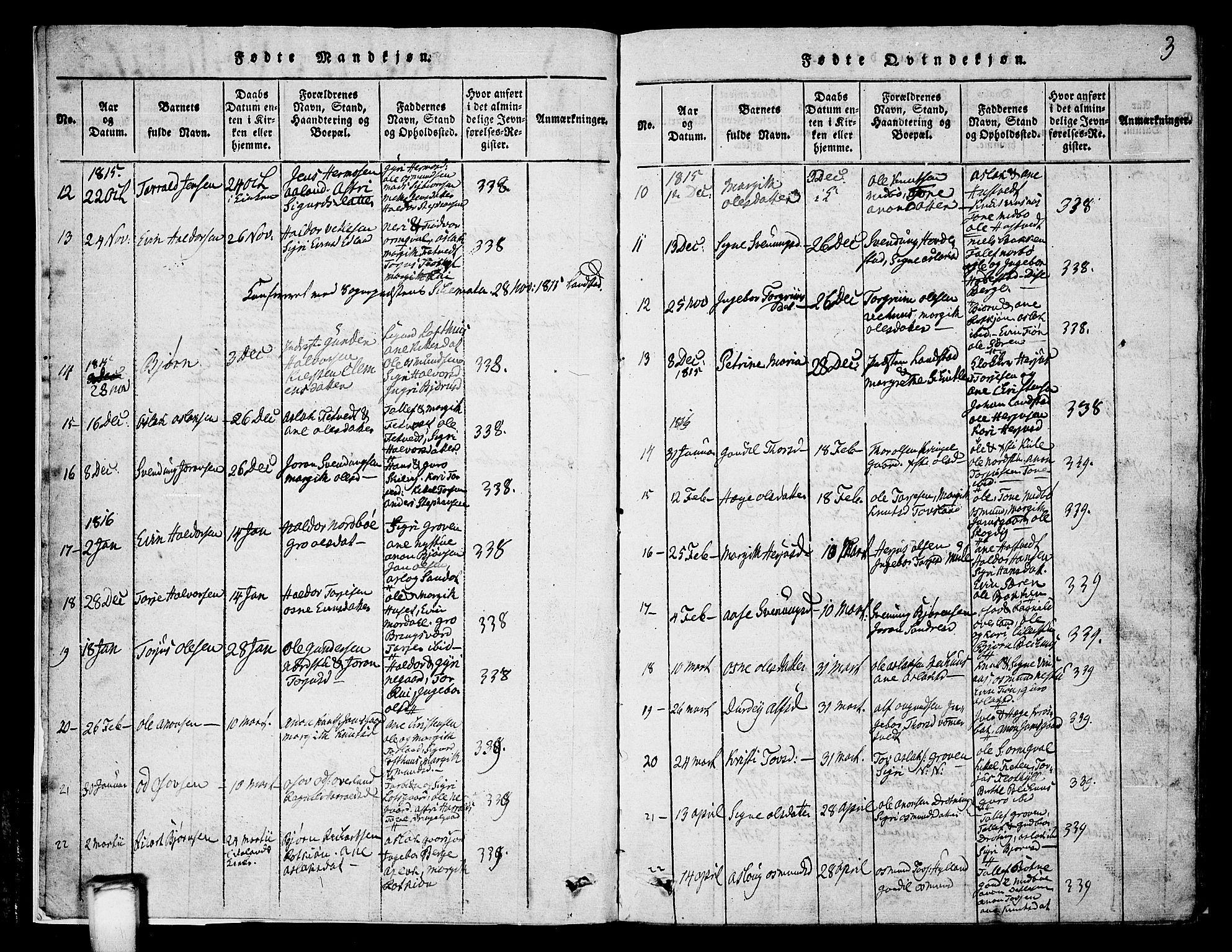 SAKO, Vinje kirkebøker, G/Ga/L0001: Klokkerbok nr. I 1, 1814-1843, s. 3