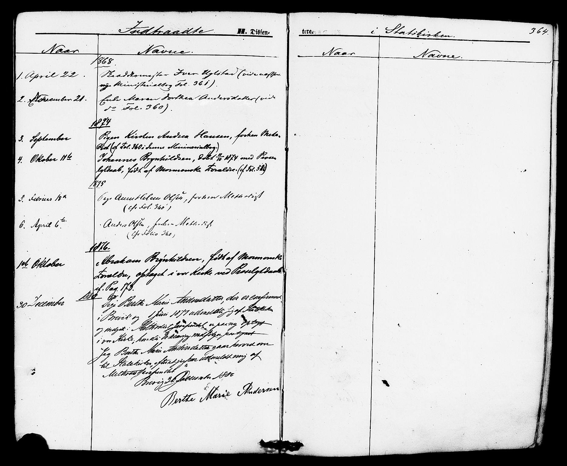 SAKO, Brevik kirkebøker, F/Fa/L0006: Ministerialbok nr. 6, 1866-1881, s. 364