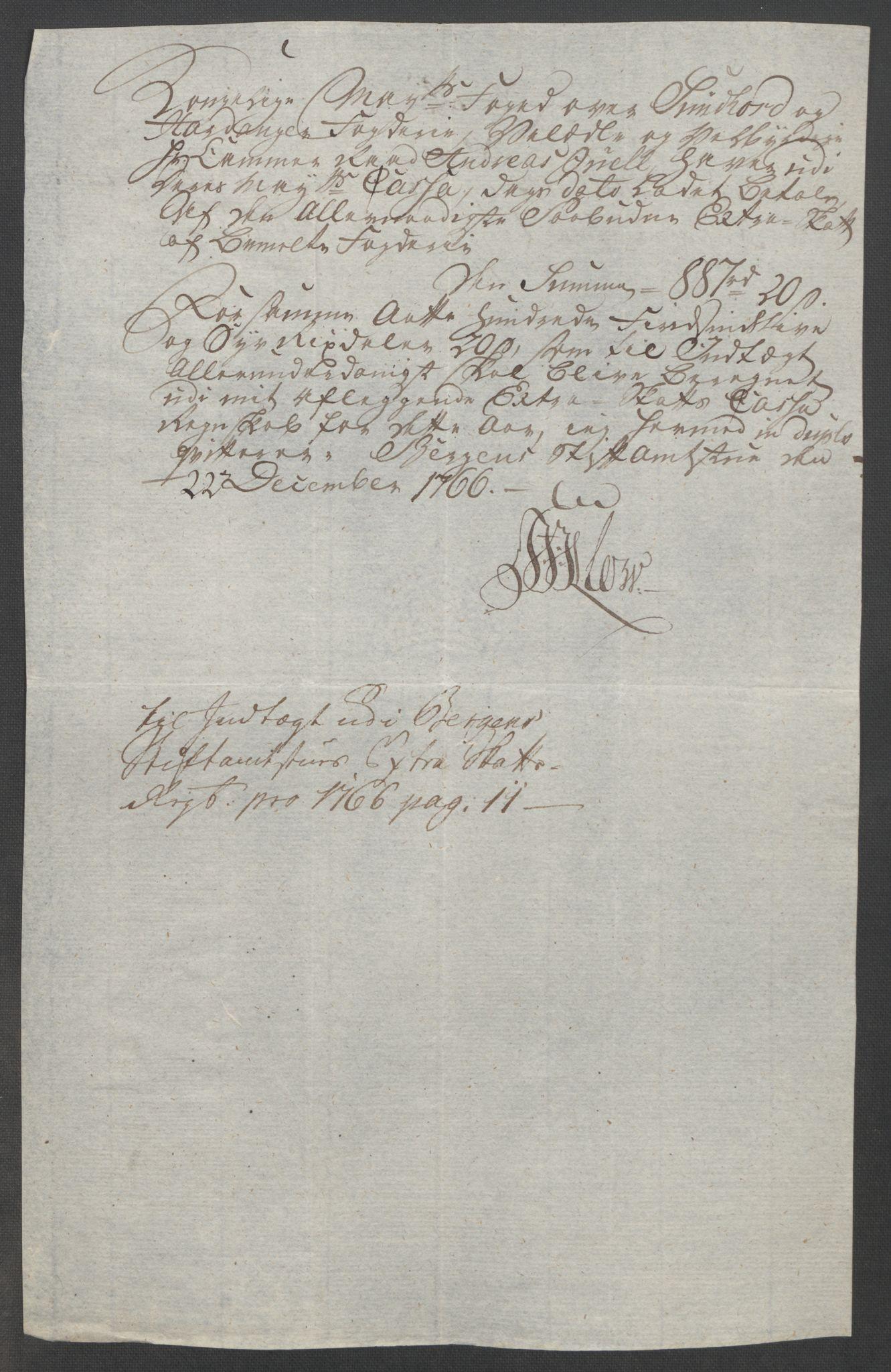 RA, Rentekammeret inntil 1814, Reviderte regnskaper, Fogderegnskap, R48/L3136: Ekstraskatten Sunnhordland og Hardanger, 1762-1772, s. 99