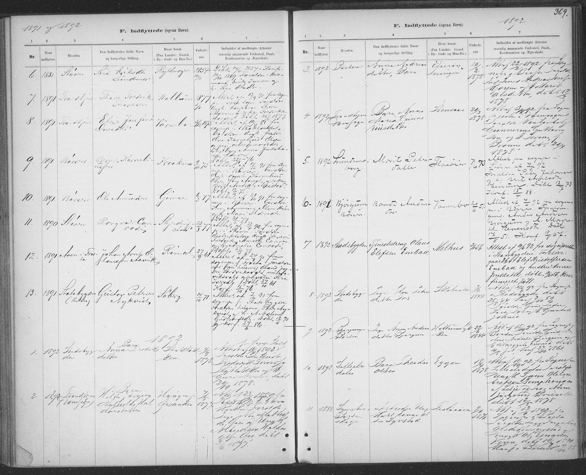 SAT, Ministerialprotokoller, klokkerbøker og fødselsregistre - Sør-Trøndelag, 691/L1085: Ministerialbok nr. 691A17, 1887-1908, s. 369