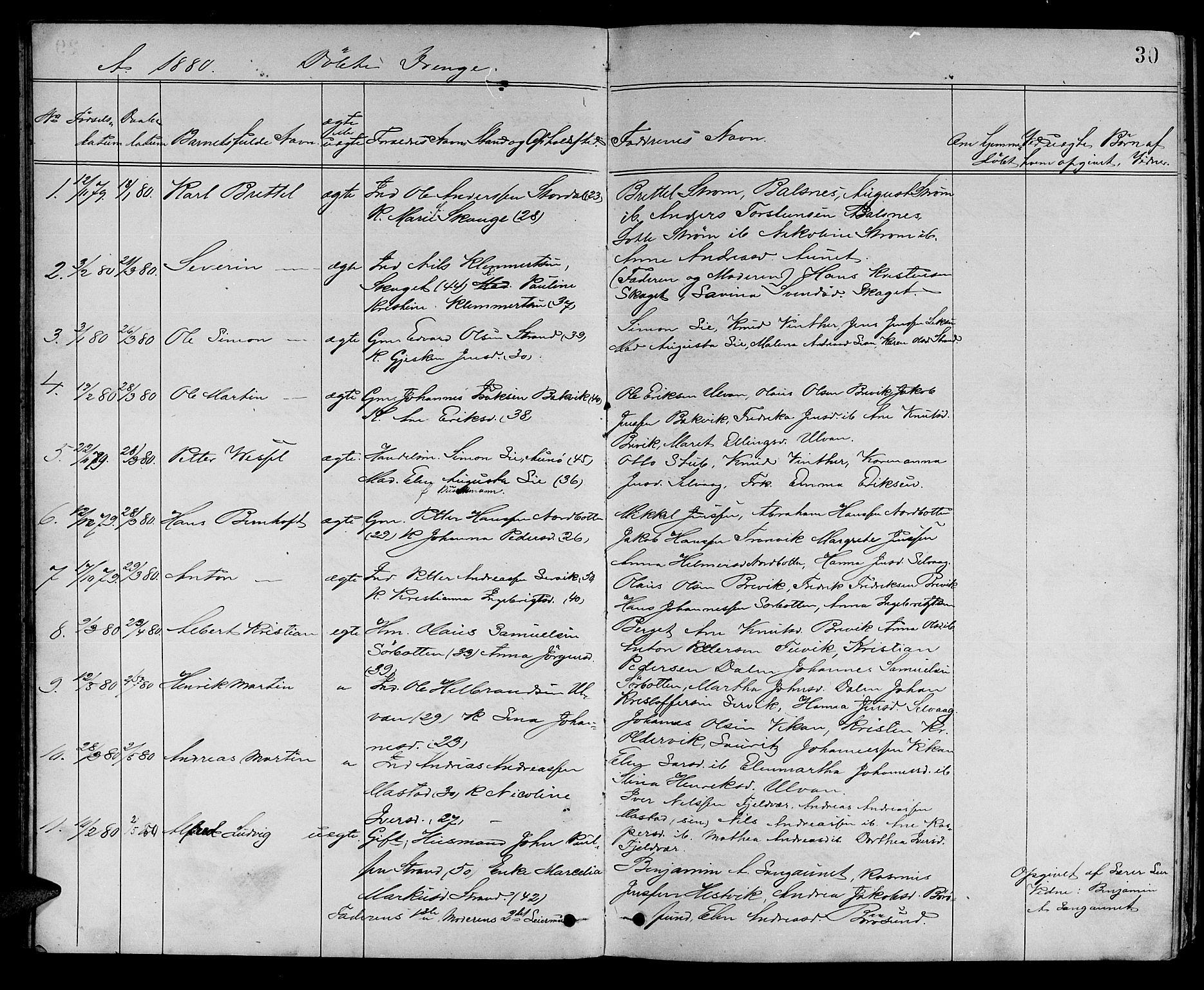 SAT, Ministerialprotokoller, klokkerbøker og fødselsregistre - Sør-Trøndelag, 637/L0561: Klokkerbok nr. 637C02, 1873-1882, s. 30