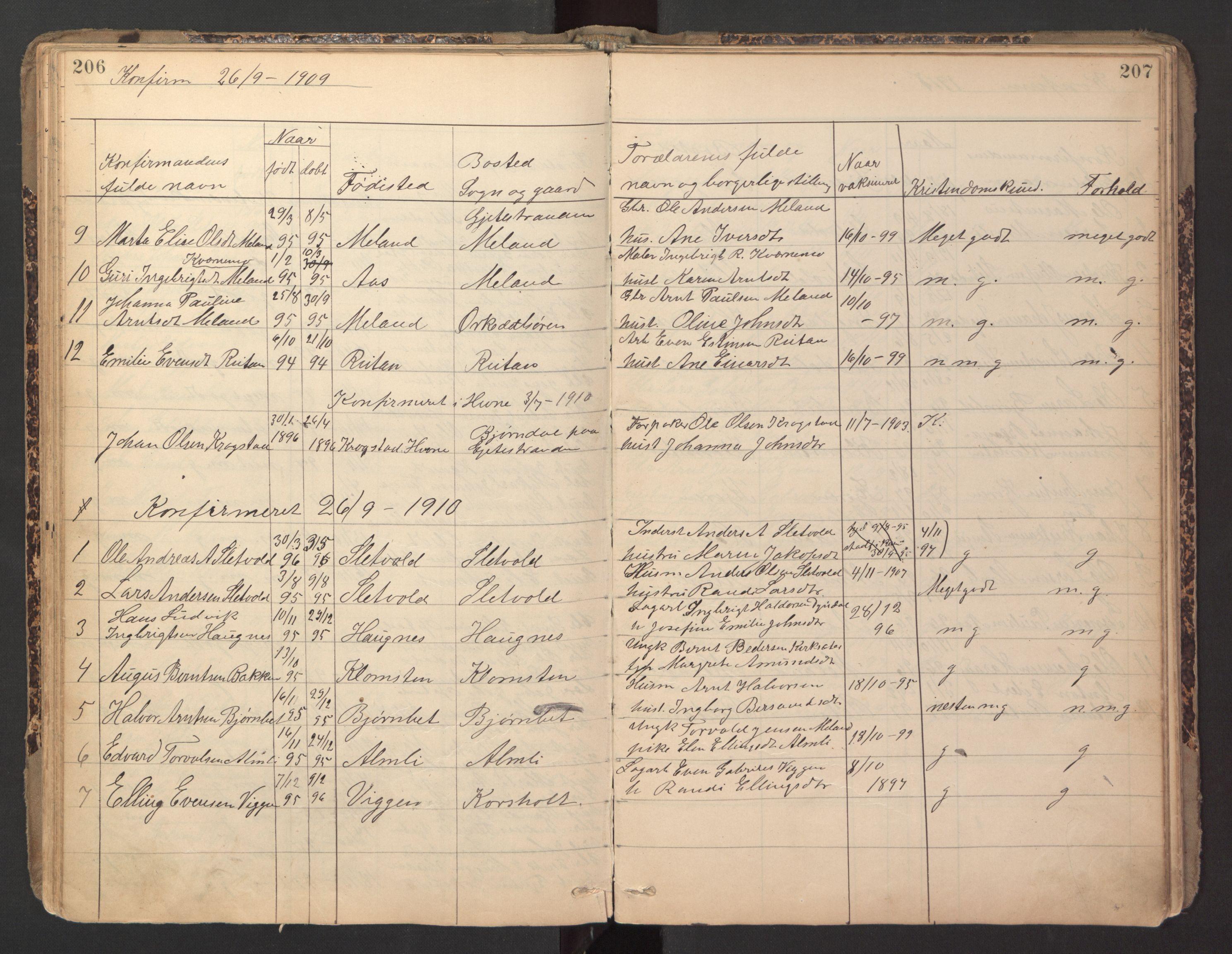 SAT, Ministerialprotokoller, klokkerbøker og fødselsregistre - Sør-Trøndelag, 670/L0837: Klokkerbok nr. 670C01, 1905-1946, s. 206-207