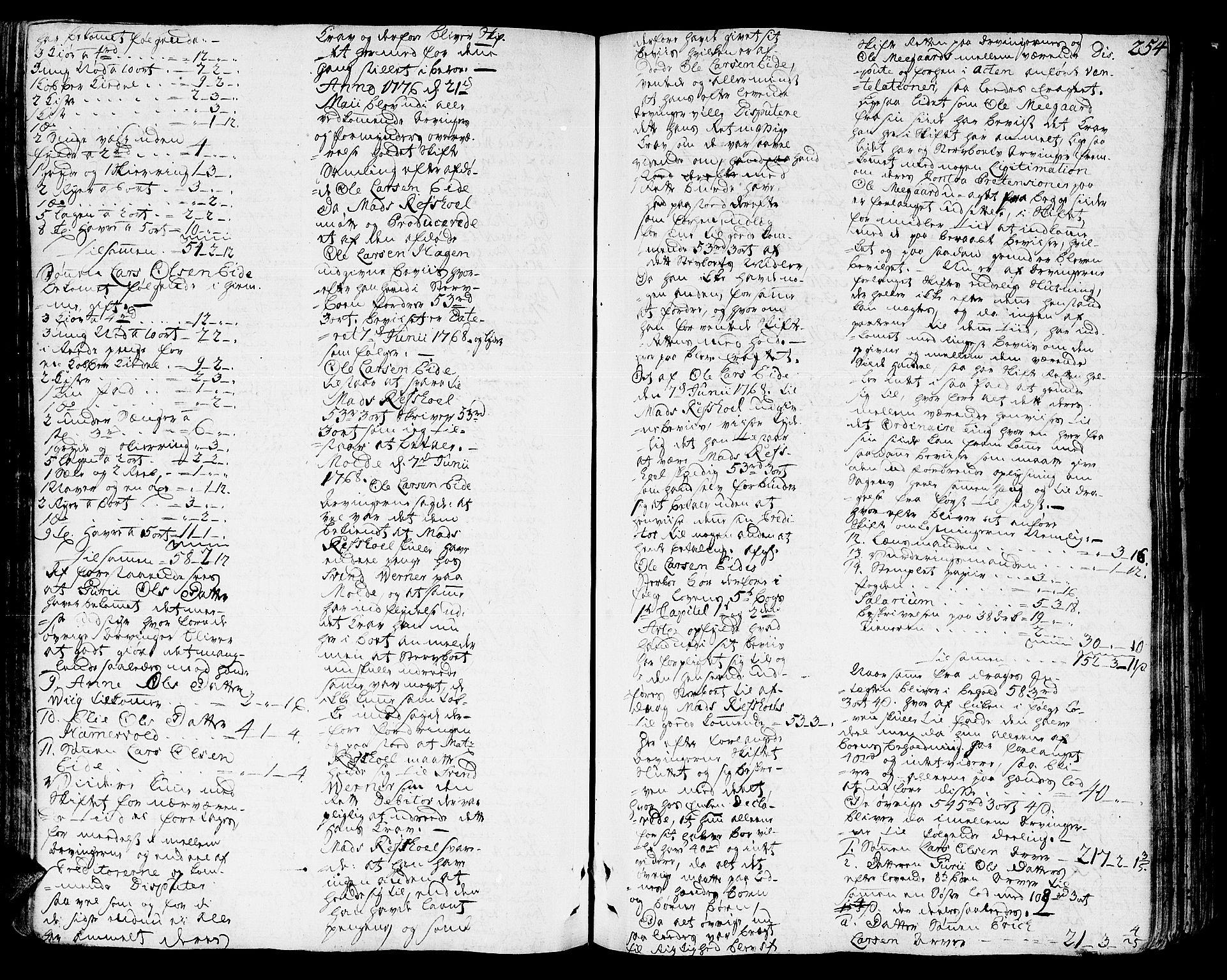 SAT, Romsdal sorenskriveri, 3/3A/L0010: Skifteprotokoll, 1774-1782, s. 253b-254a