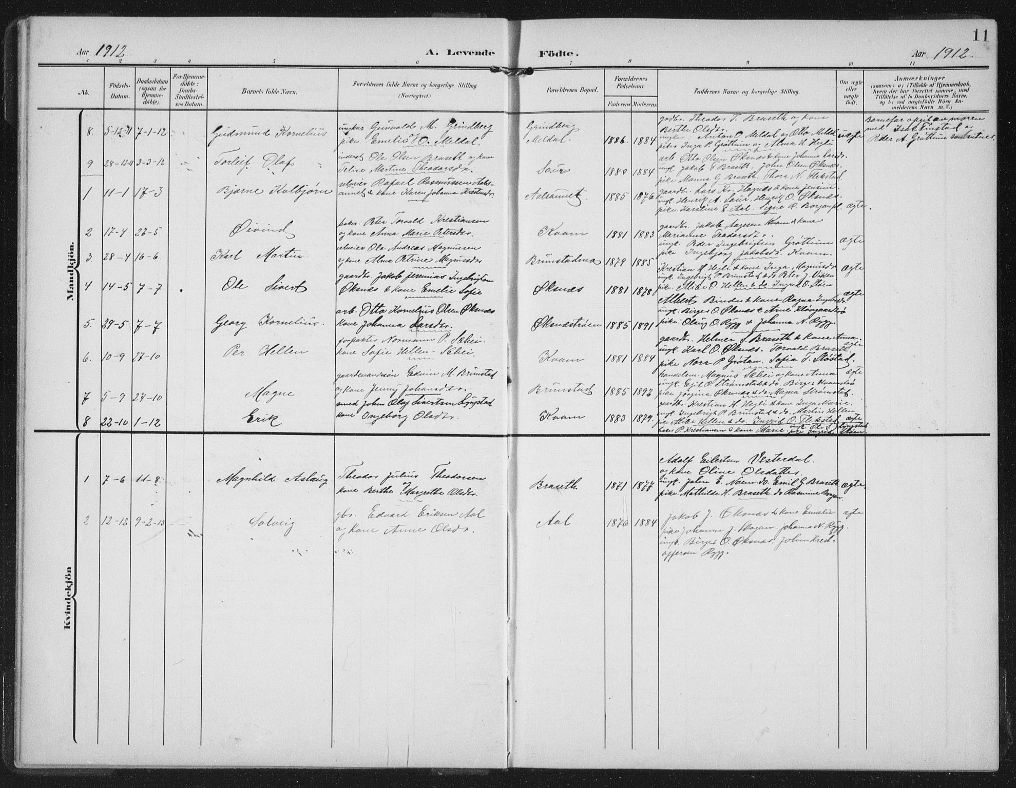 SAT, Ministerialprotokoller, klokkerbøker og fødselsregistre - Nord-Trøndelag, 747/L0460: Klokkerbok nr. 747C02, 1908-1939, s. 11