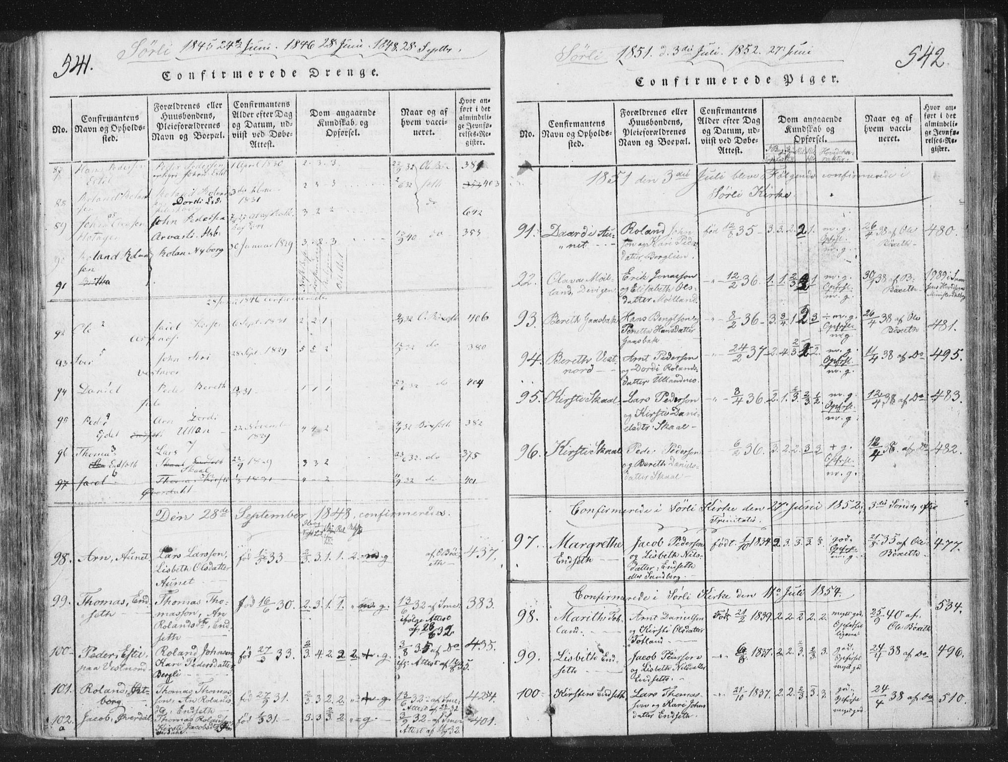 SAT, Ministerialprotokoller, klokkerbøker og fødselsregistre - Nord-Trøndelag, 755/L0491: Ministerialbok nr. 755A01 /2, 1817-1864, s. 541-542