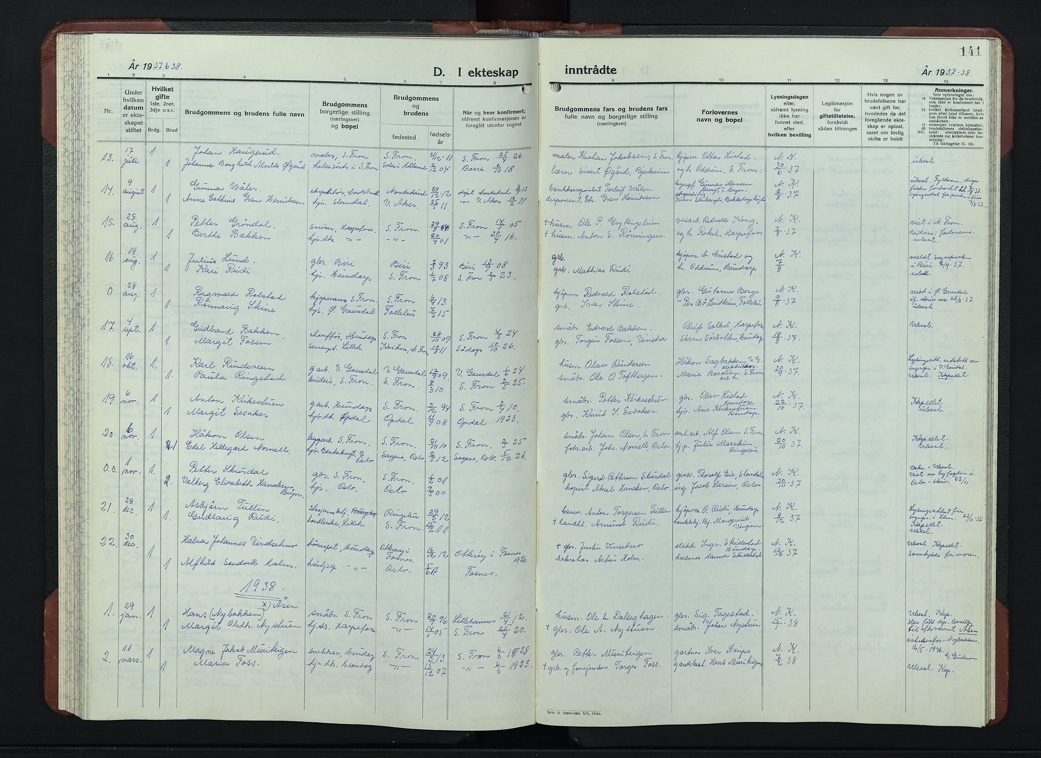 SAH, Sør-Fron prestekontor, H/Ha/Hab/L0006: Klokkerbok nr. 6, 1933-1948, s. 141