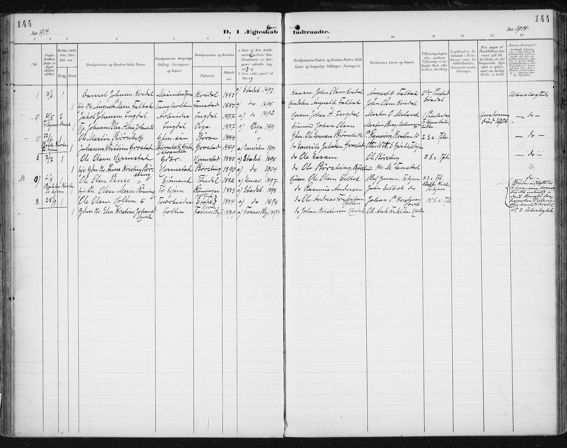 SAT, Ministerialprotokoller, klokkerbøker og fødselsregistre - Sør-Trøndelag, 646/L0616: Ministerialbok nr. 646A14, 1900-1918, s. 144