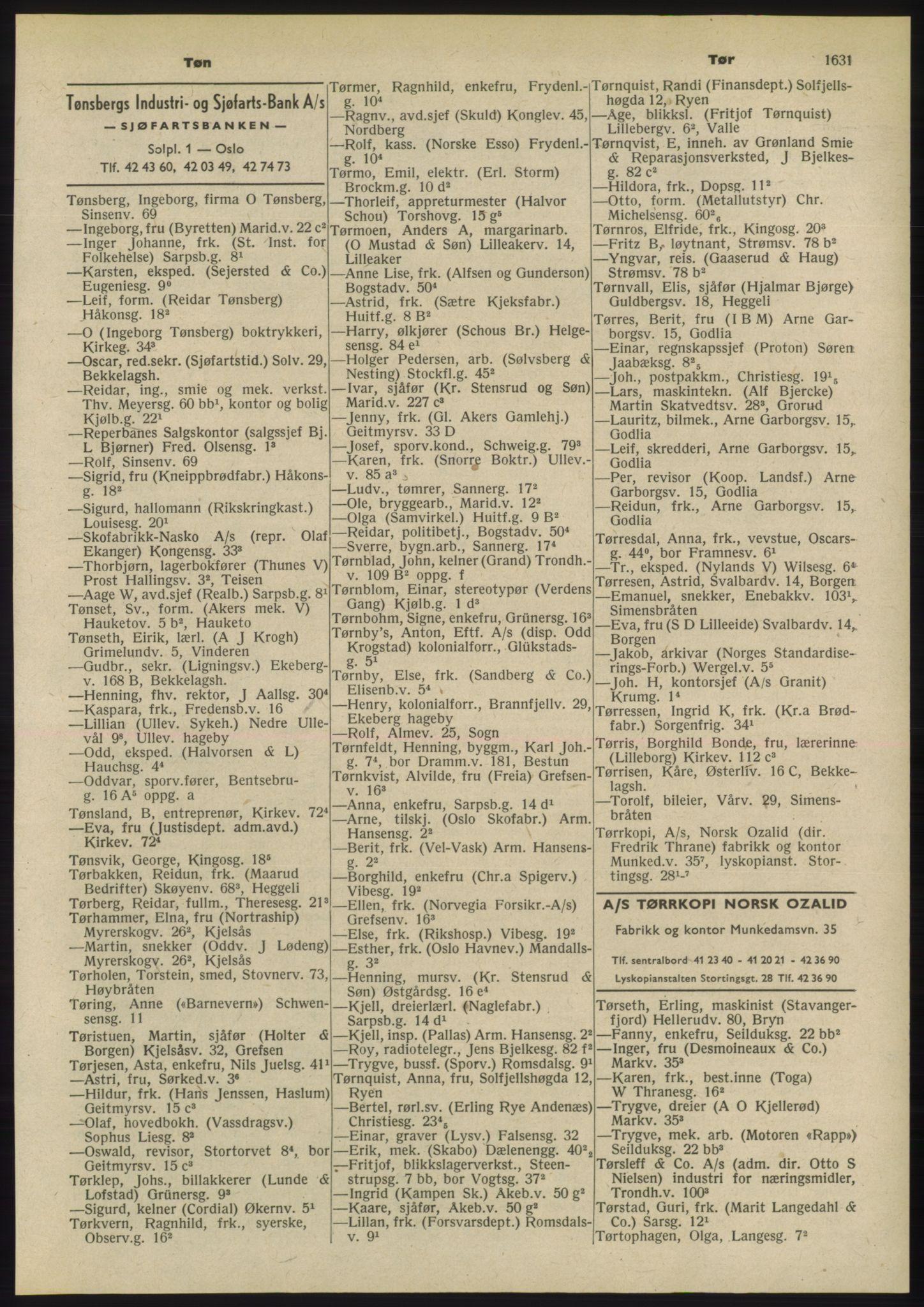 PUBL, Kristiania/Oslo adressebok, 1955, s. 1631