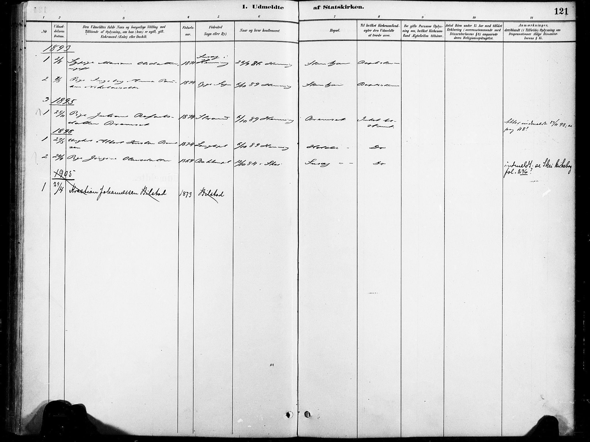 SAT, Ministerialprotokoller, klokkerbøker og fødselsregistre - Nord-Trøndelag, 738/L0364: Ministerialbok nr. 738A01, 1884-1902, s. 121