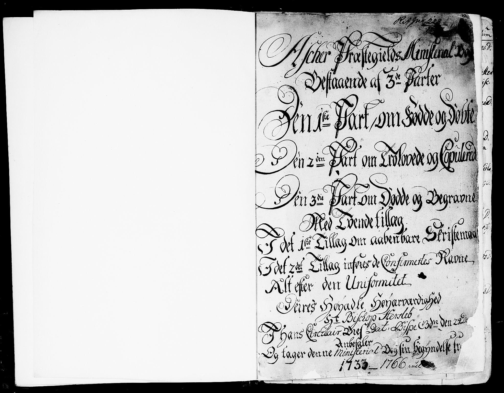 SAO, Asker prestekontor Kirkebøker, F/Fa/L0002: Ministerialbok nr. I 2, 1733-1766