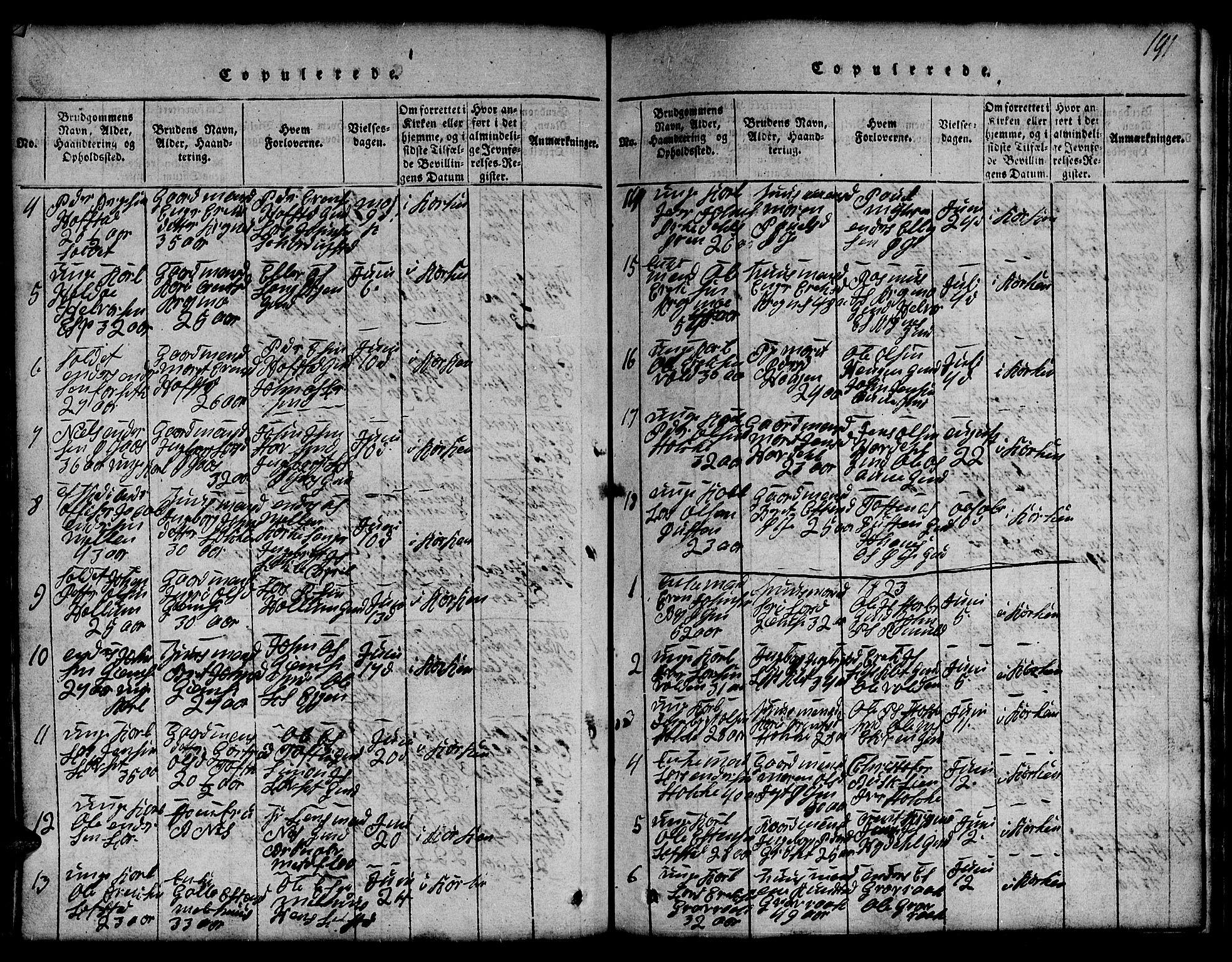 SAT, Ministerialprotokoller, klokkerbøker og fødselsregistre - Sør-Trøndelag, 691/L1092: Klokkerbok nr. 691C03, 1816-1852, s. 191