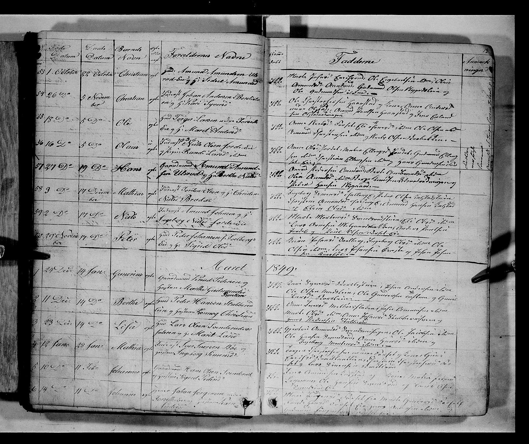 SAH, Gausdal prestekontor, Klokkerbok nr. 5, 1846-1867, s. 13