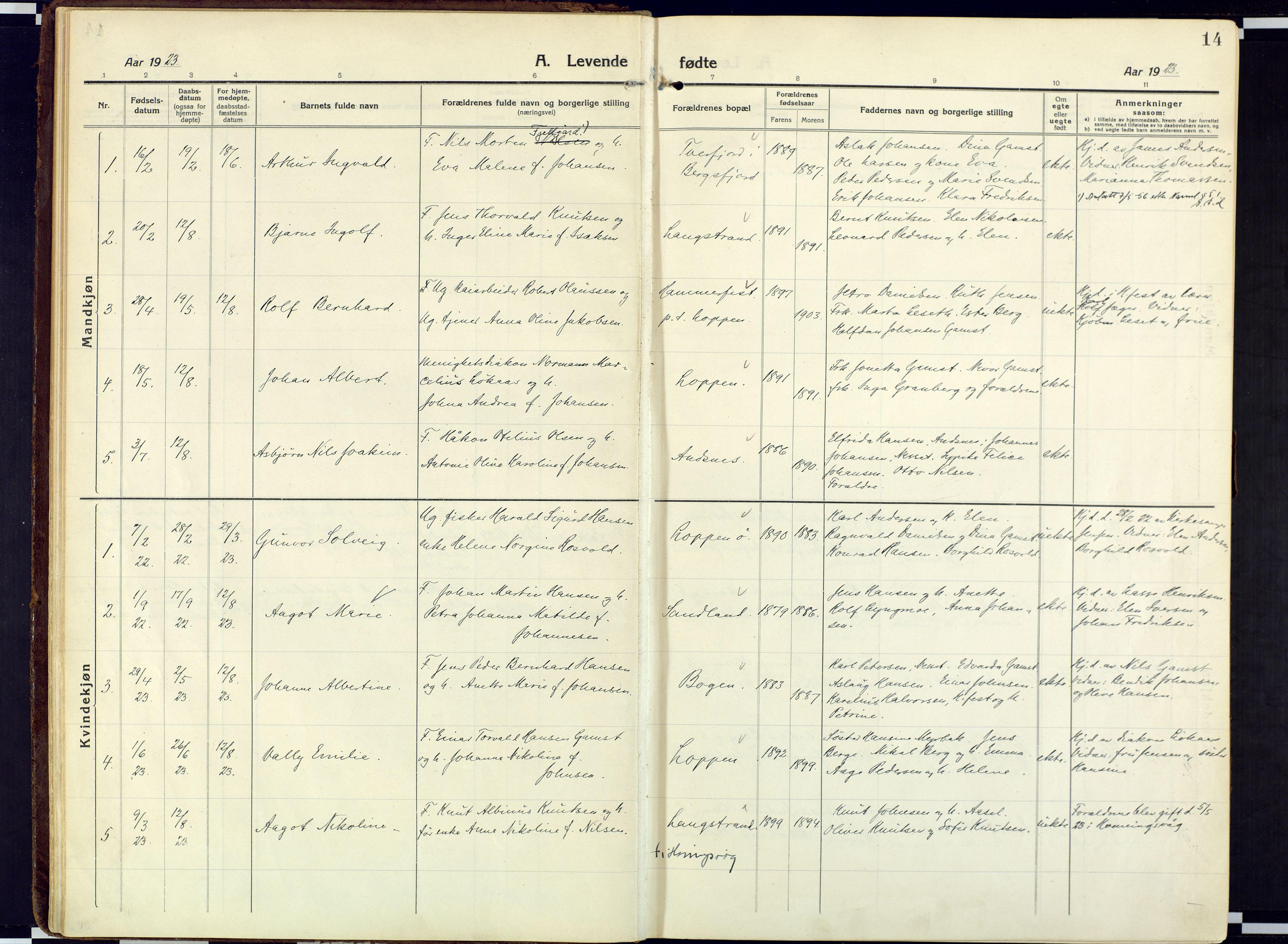 SATØ, Loppa sokneprestkontor, H/Ha/L0013kirke: Ministerialbok nr. 13, 1920-1932, s. 14